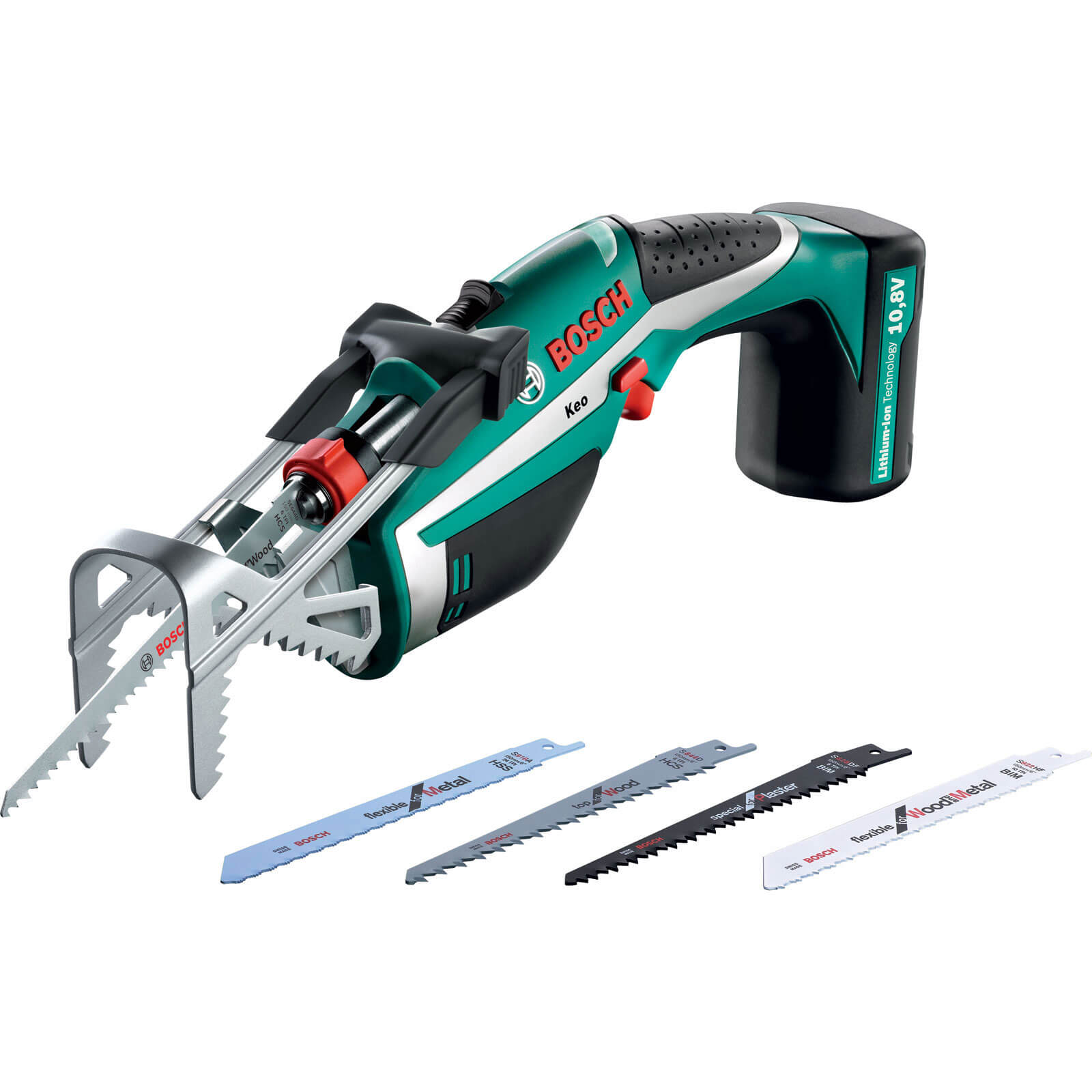 Bosch KEO 10.8v Cordless Reciprocating Garden Pruning Kit Saw with Integral Lithium Ion Battery 1.3ah
