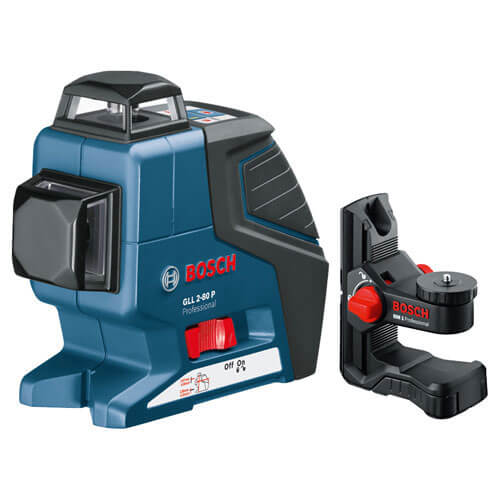 Bosch GLL 2-80 P Self Levelling Vertical & Horizontal Plane Laser Level + BM1 Wall Mount