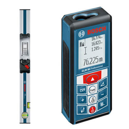 Bosch GLM 80 Laser Distance Measurer 80 Metre Range Metric & Imperial with Inclinometer Function & R60