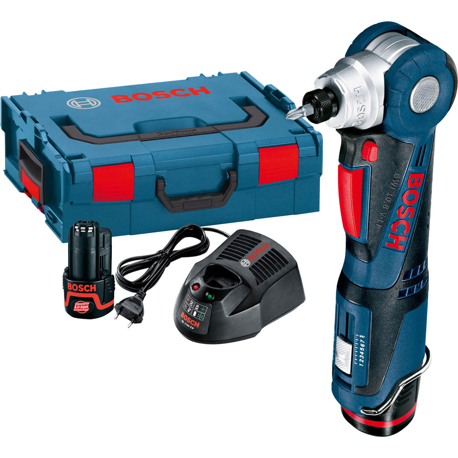 Bosch GWI 10.8 V-Li 10.8v Cordless Angle Screwdriver with L Boxx & 2 Li-ion Batteries 2ah