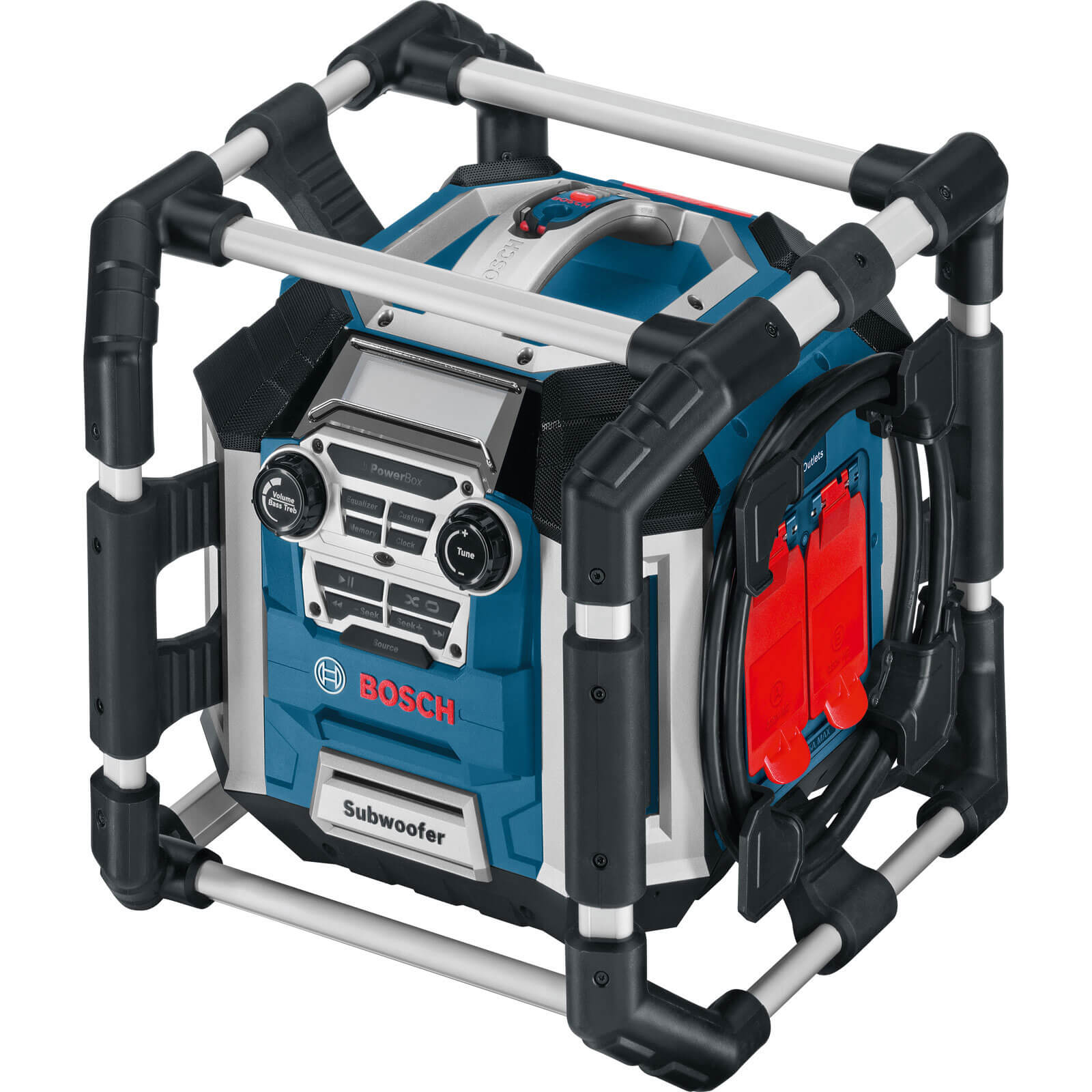 Bosch POWERBOX GML 50 Radio, MP3 Speakers, Battery Charger & Powerbox with 2 x 240v Sockets Runs off 240v & 14.4 - 18v Lithium Ion Batteries