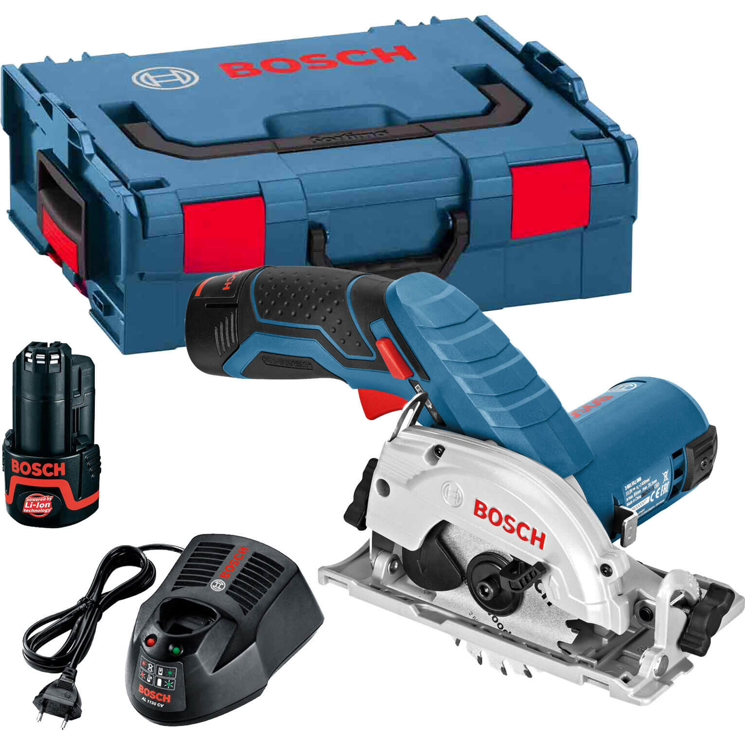 Bosch GKS 10.8 V-LI 10.8v Cordless Circular Saw 85mm Blade with L Boxx & 2 Lithium Ion Batteries 2ah