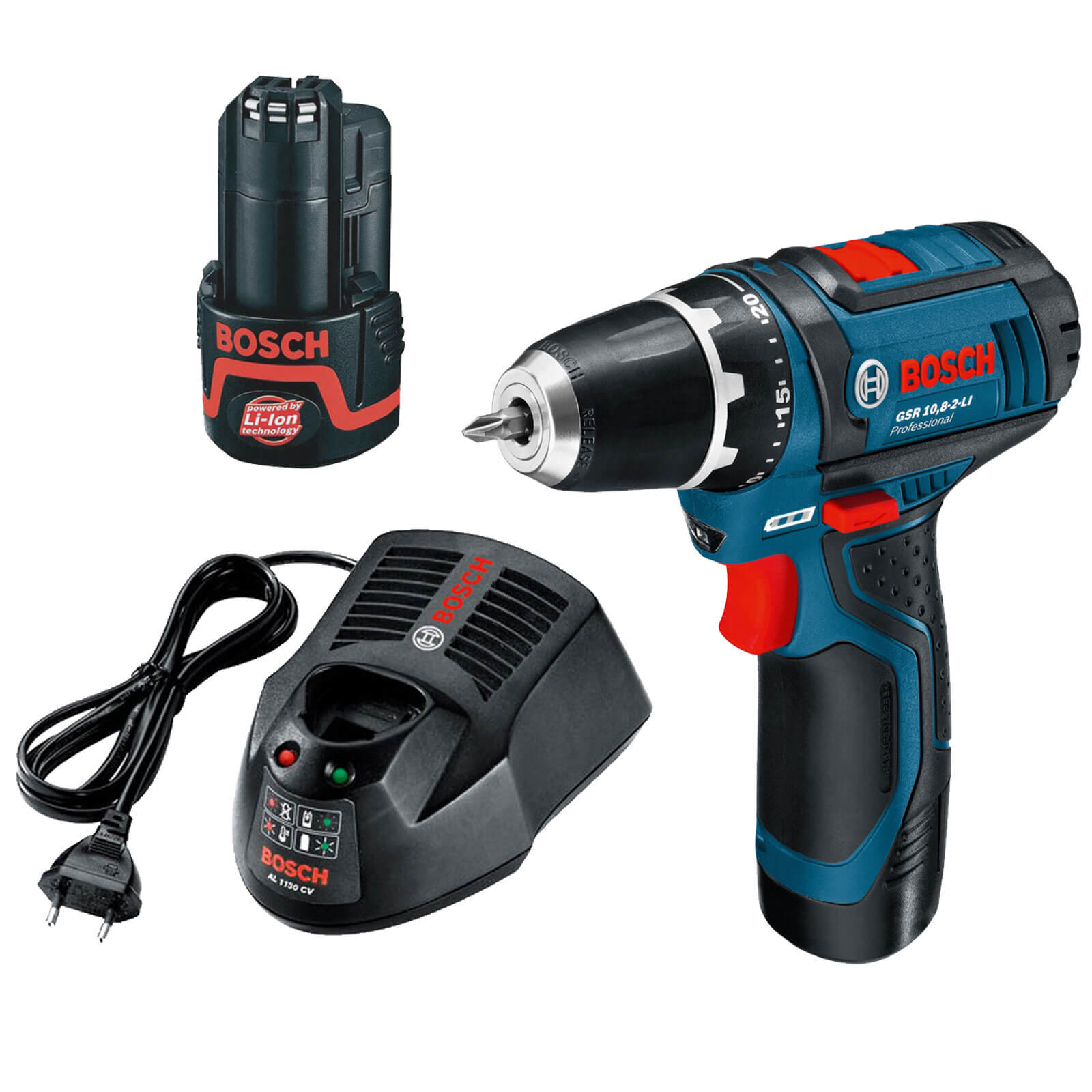 bosch gsr 10 8 2 li cordless heavy duty drill driver with 2 li ion batteries 2ah. Black Bedroom Furniture Sets. Home Design Ideas