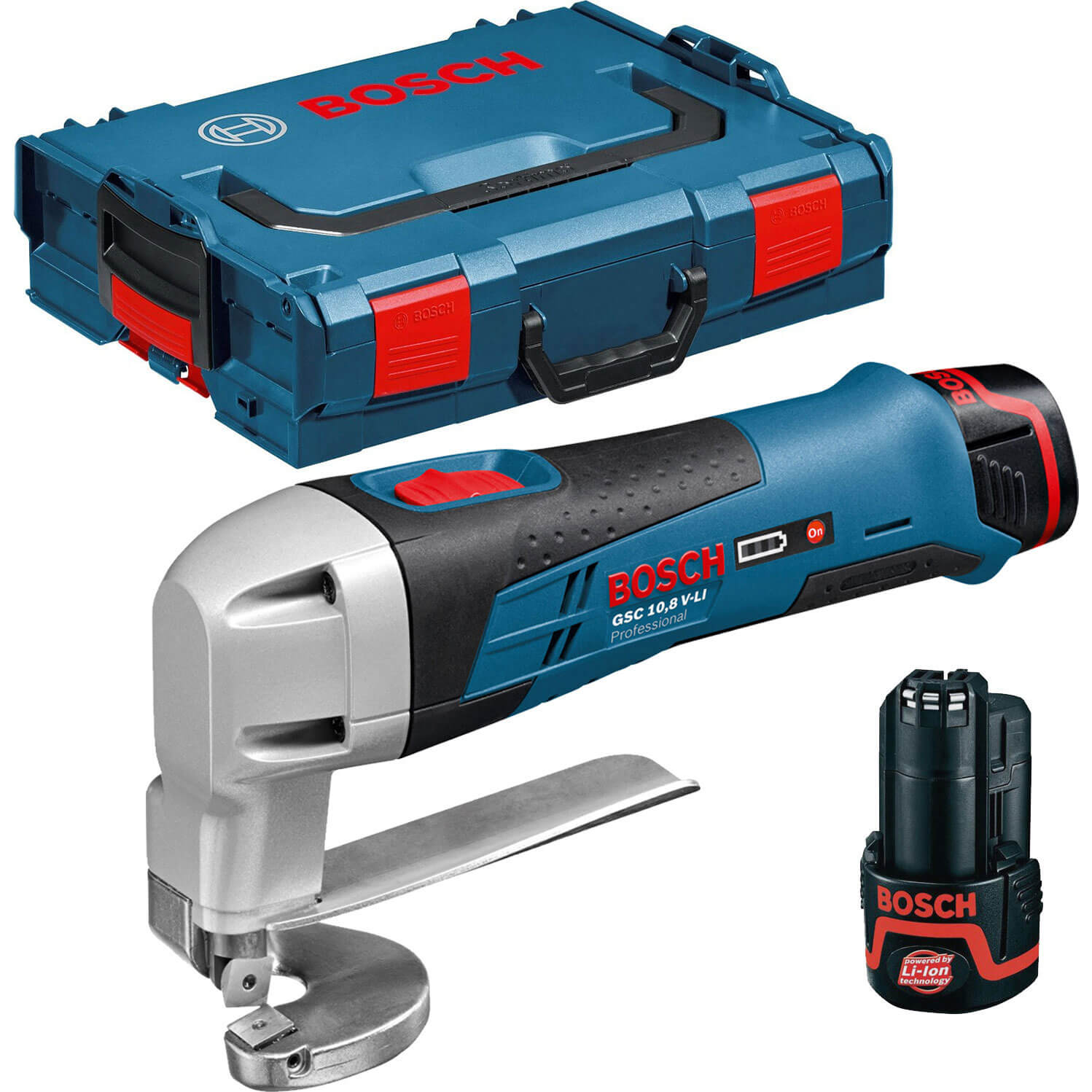 Bosch GSC 10.8 V-LI 10.8v Cordless Metal Shears with L Boxx & 2 Lithium Ion Batteries 2ah