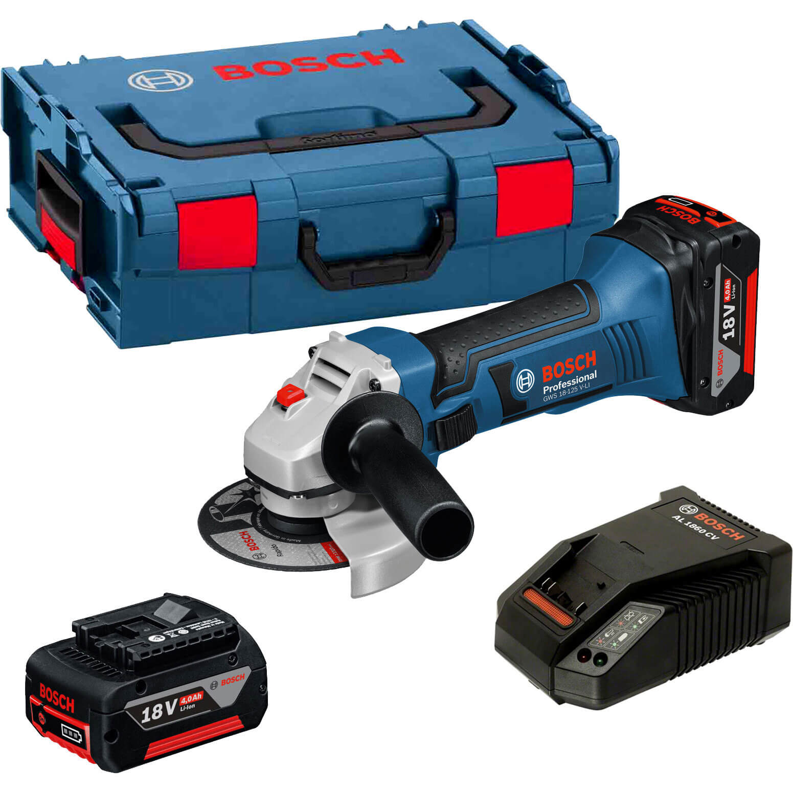 bosch gws 18 125 v li 18v cordless angle grinder 125mm 5 disc with l boxx 2 lithium ion. Black Bedroom Furniture Sets. Home Design Ideas