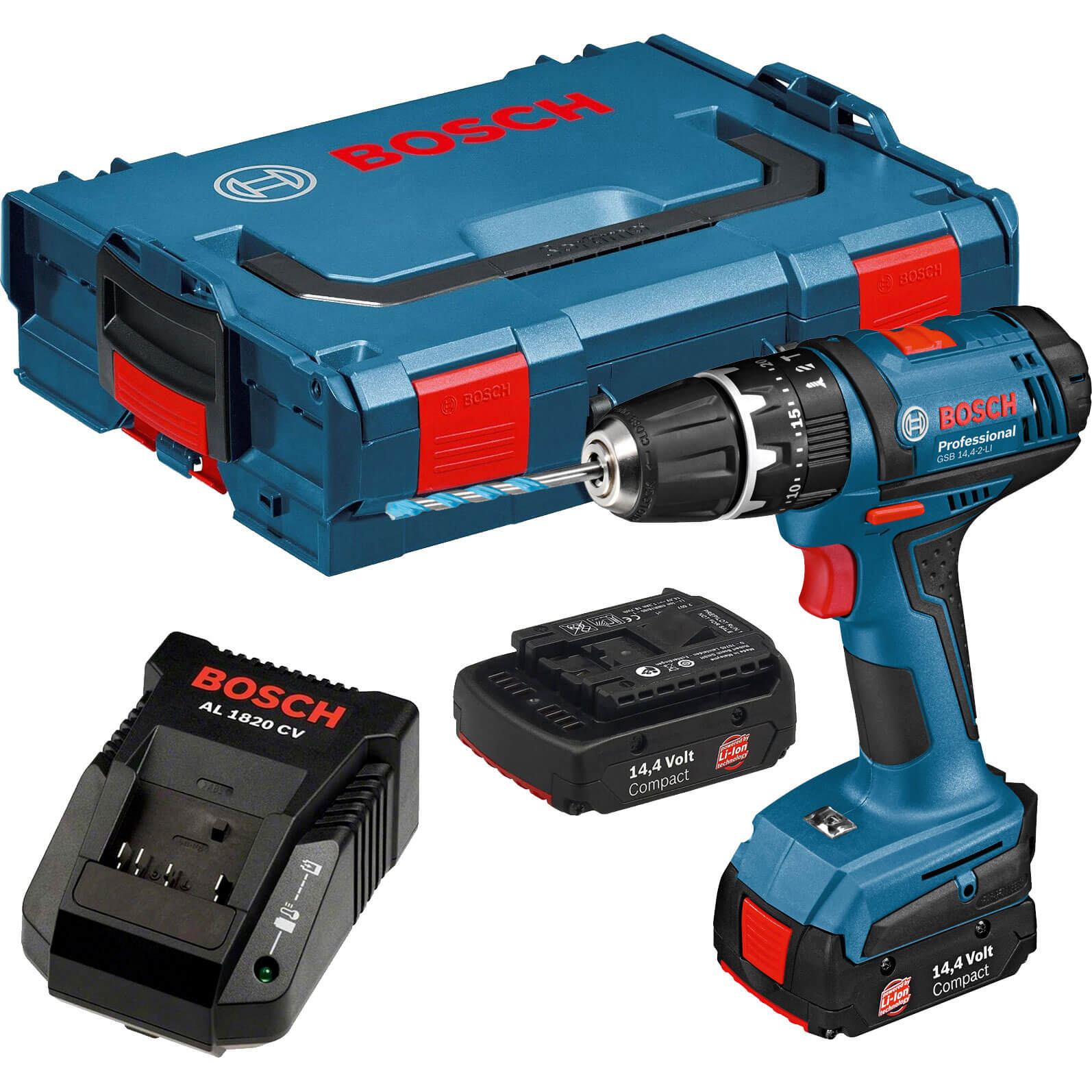 bosch gsb 14 4 2 li cordless combi drill with 2 lithium ion batteries l boxx. Black Bedroom Furniture Sets. Home Design Ideas