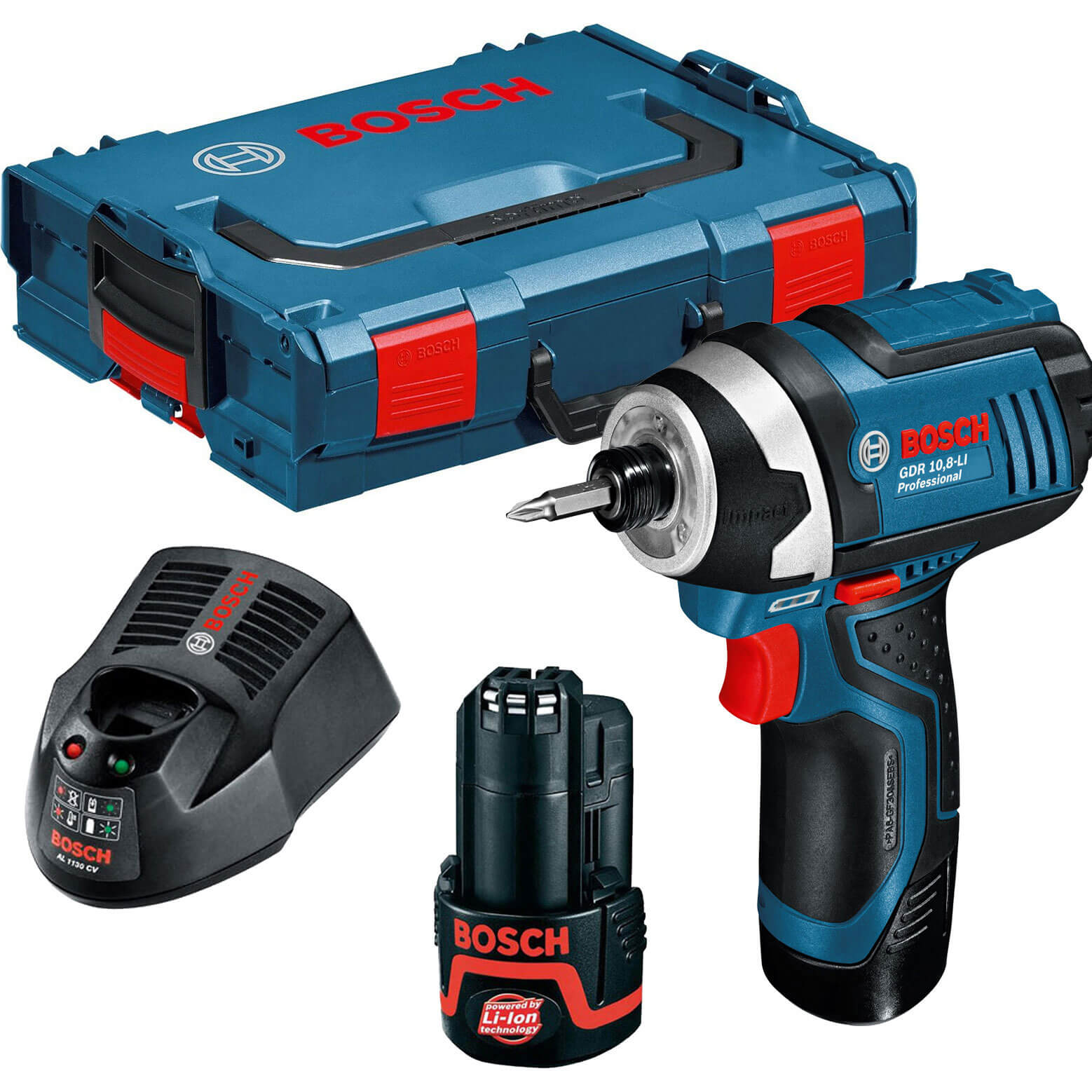 bosch gdr 10 8 v li cordless impact driver with 2 lithium ion batteries 2ah. Black Bedroom Furniture Sets. Home Design Ideas