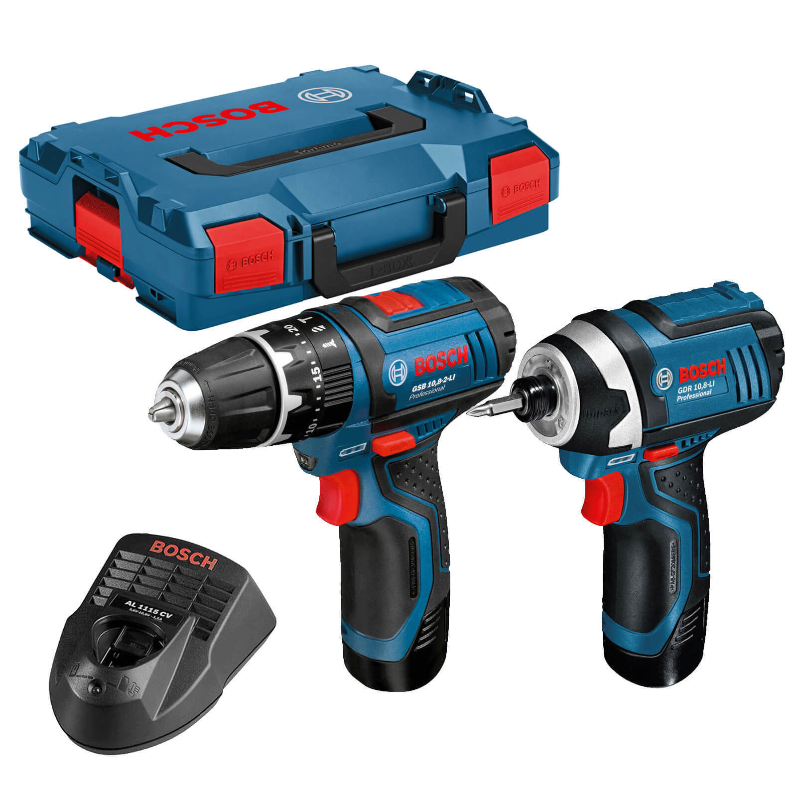 Bosch GSB 10.8 2 LI 10.8v Cordless Combi Drill GDR 10.8 LI Impact Driver with 2 Li ion Batteries 2ah L Boxx
