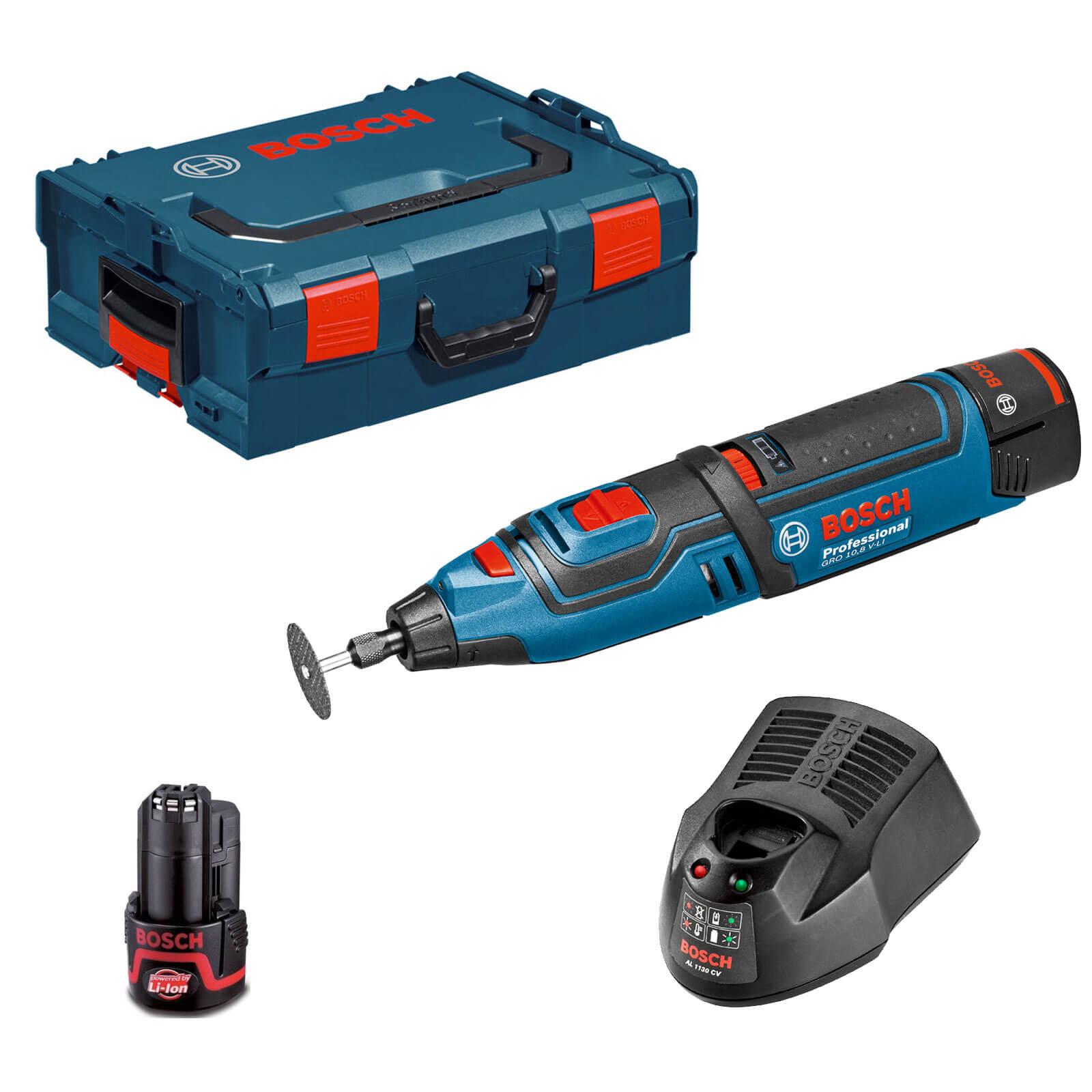 Bosch GRO 10.8 V LI 10.8v Cordless Multi Tool with Accessories, L Boxx 2 Li ion Batteries 2ah