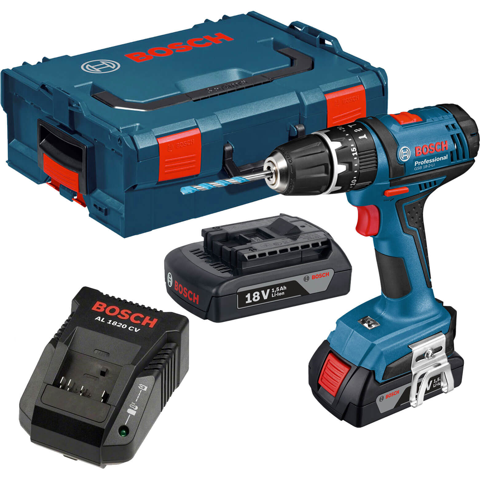 bosch gsb 18 2 li 18v cordless lightseries combi drill with l boxx 2 lithium ion batteries. Black Bedroom Furniture Sets. Home Design Ideas