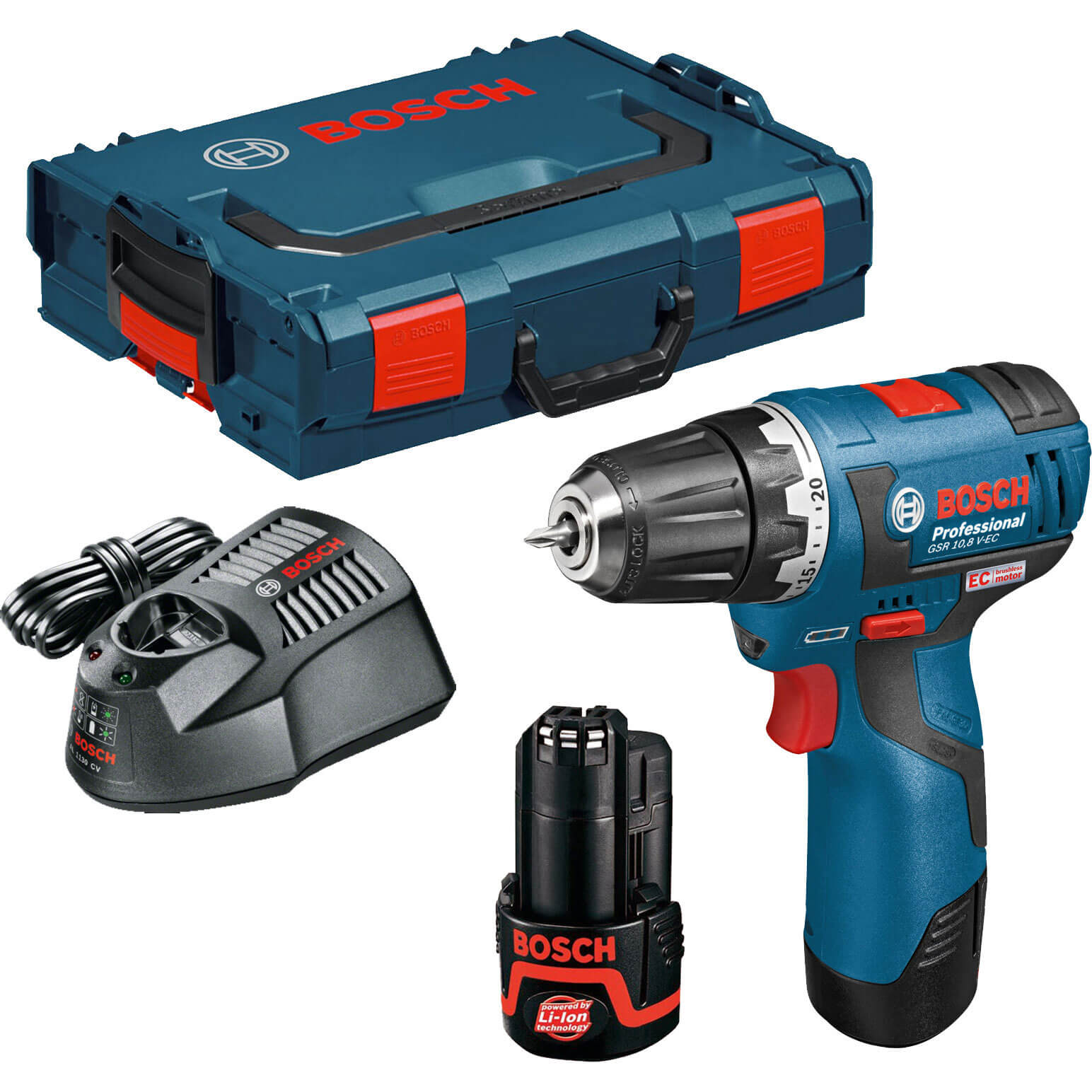 Bosch GSR 10.8 V-EC 10.8v Cordless 2 Speed Brushless Drill Driver with L Boxx & 2 Lithium Ion Batteries 2ah