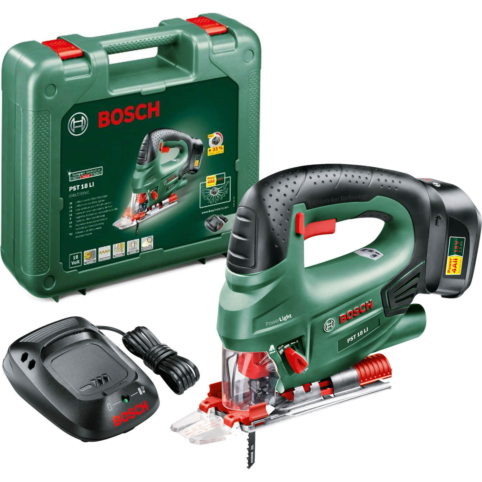 Bosch POWER4ALL PST 18 LI 18v Cordless Jigsaw with 1 Lithium Ion Battery 2ah