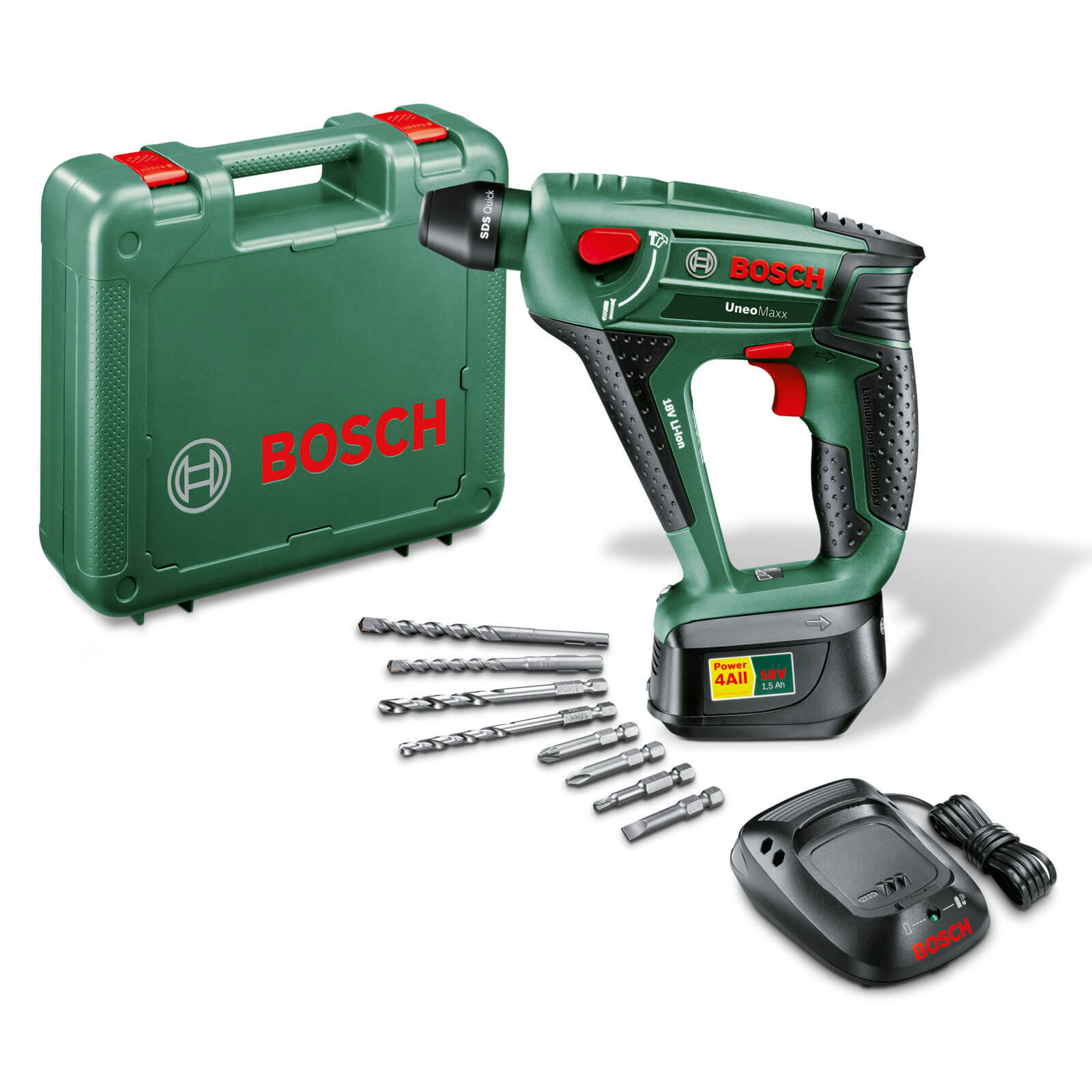 combi drills bosch power4all uneo maxx 18v cordless 3 in 1 sds quick combi drill with 1 lithium. Black Bedroom Furniture Sets. Home Design Ideas