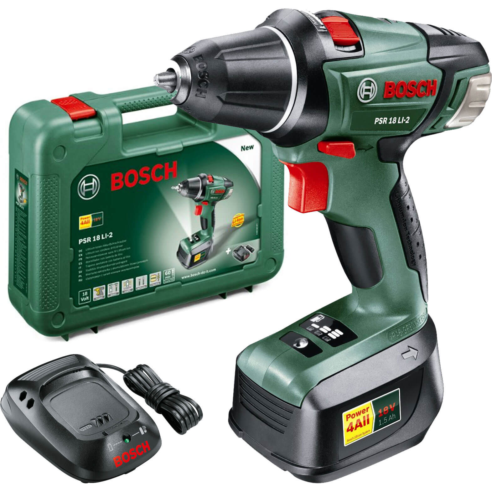 bosch power4all psr 18 li 2 18v cordless compact drill driver without battery or charger. Black Bedroom Furniture Sets. Home Design Ideas