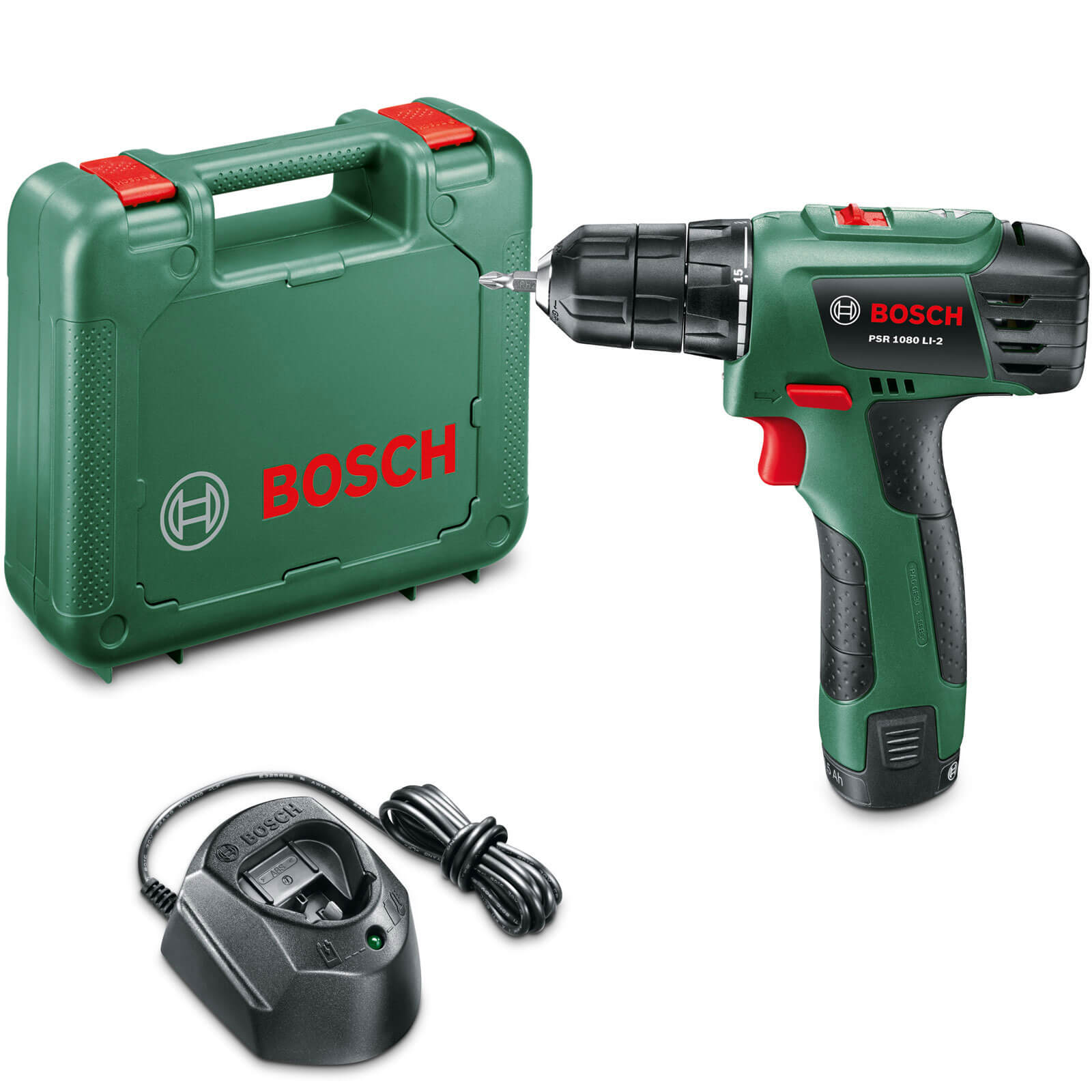 Bosch POWER4ALL PSR 10.8 LI-2 10.8v Cordless 2 Speed Drill Driver with 1 Lithium Ion Battery 1.5ah