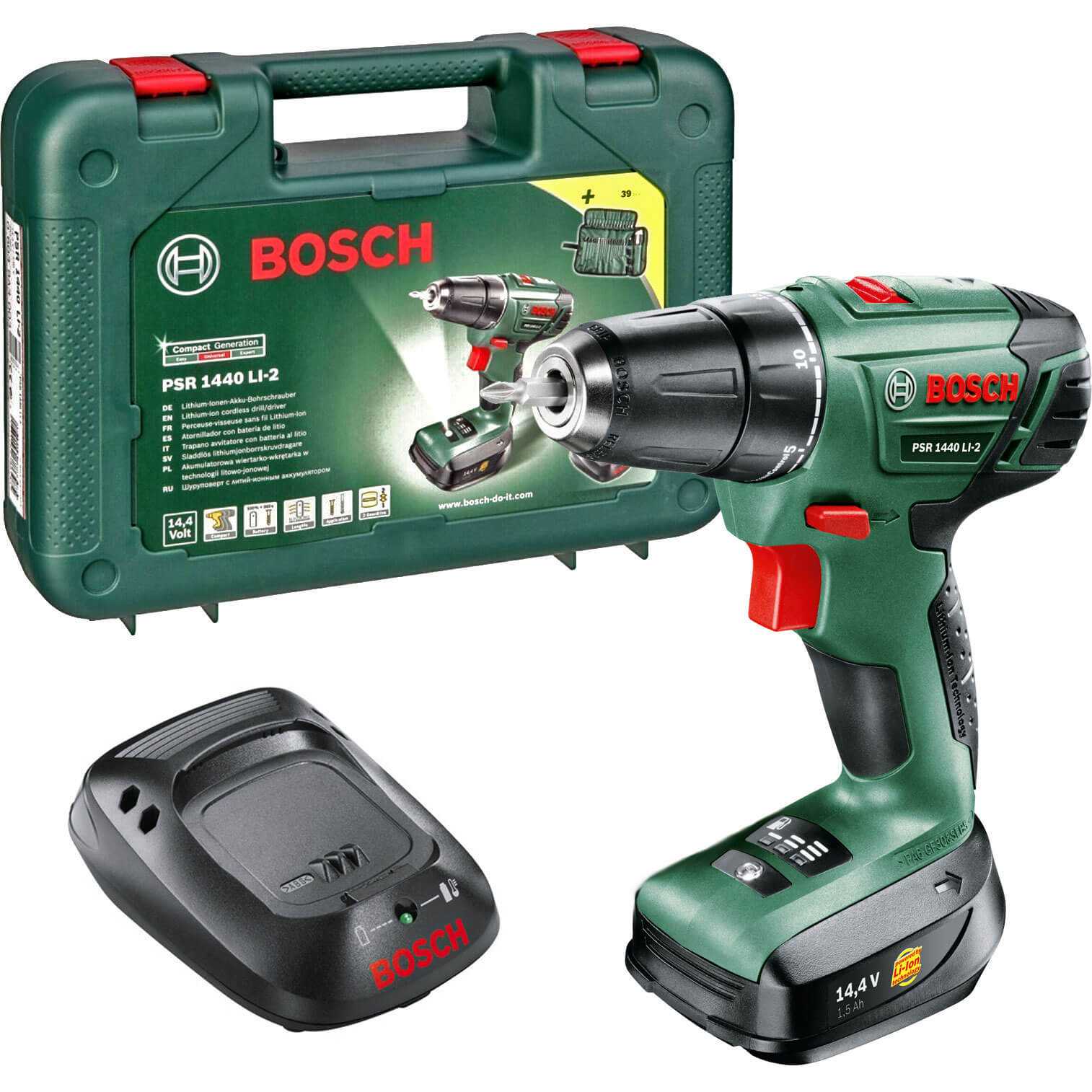 Bosch POWER4ALL PSR 1440 LI-2 14.4v Cordless 2 Speed Drill Driver with 1 Lithium Ion Battery 1.5ah