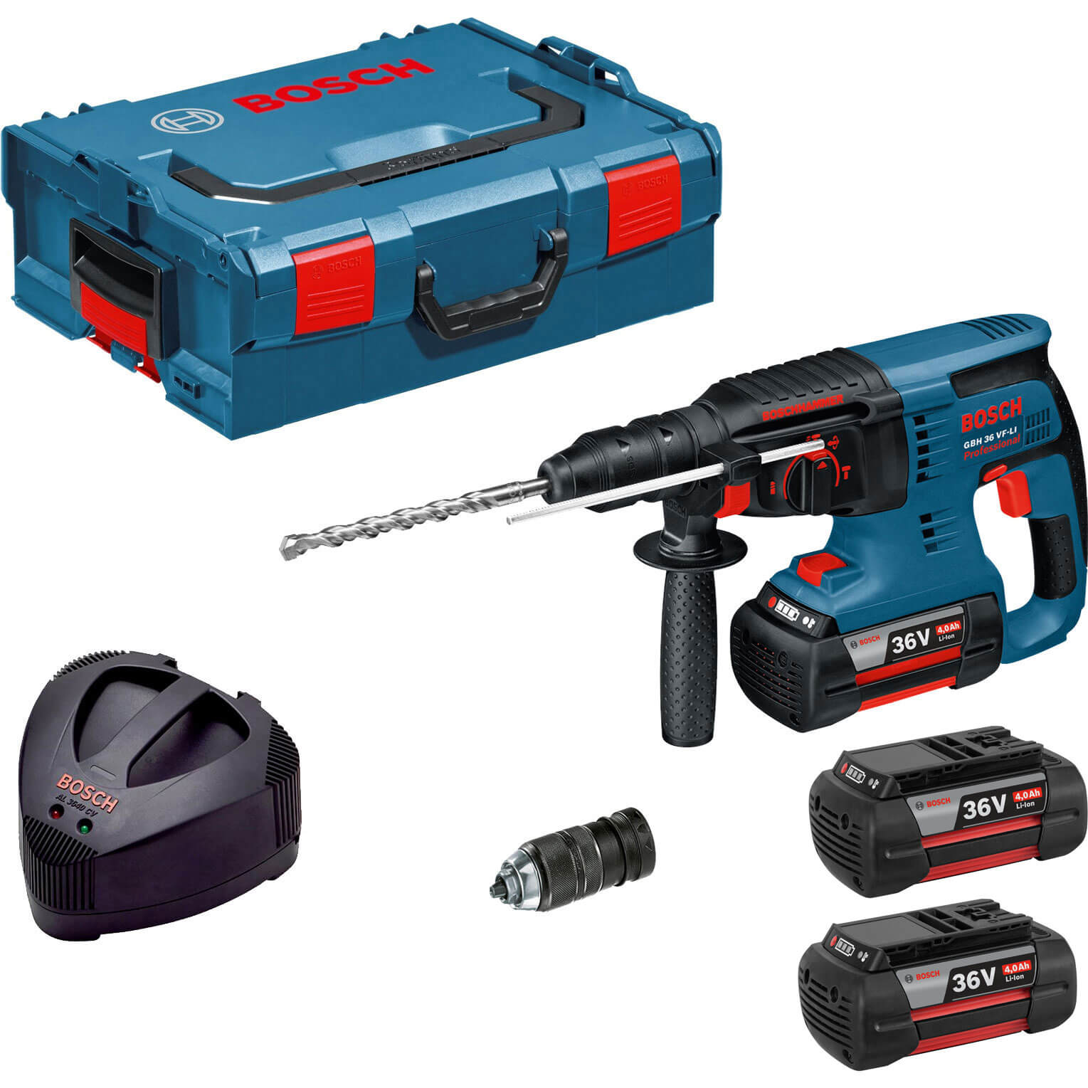 Bosch GBH 36 VF-LI 36v Cordless SDS Plus Hammer Drill with Quick Change Chuck, L Boxx & 3 Lithium Ion Batteries 4ah