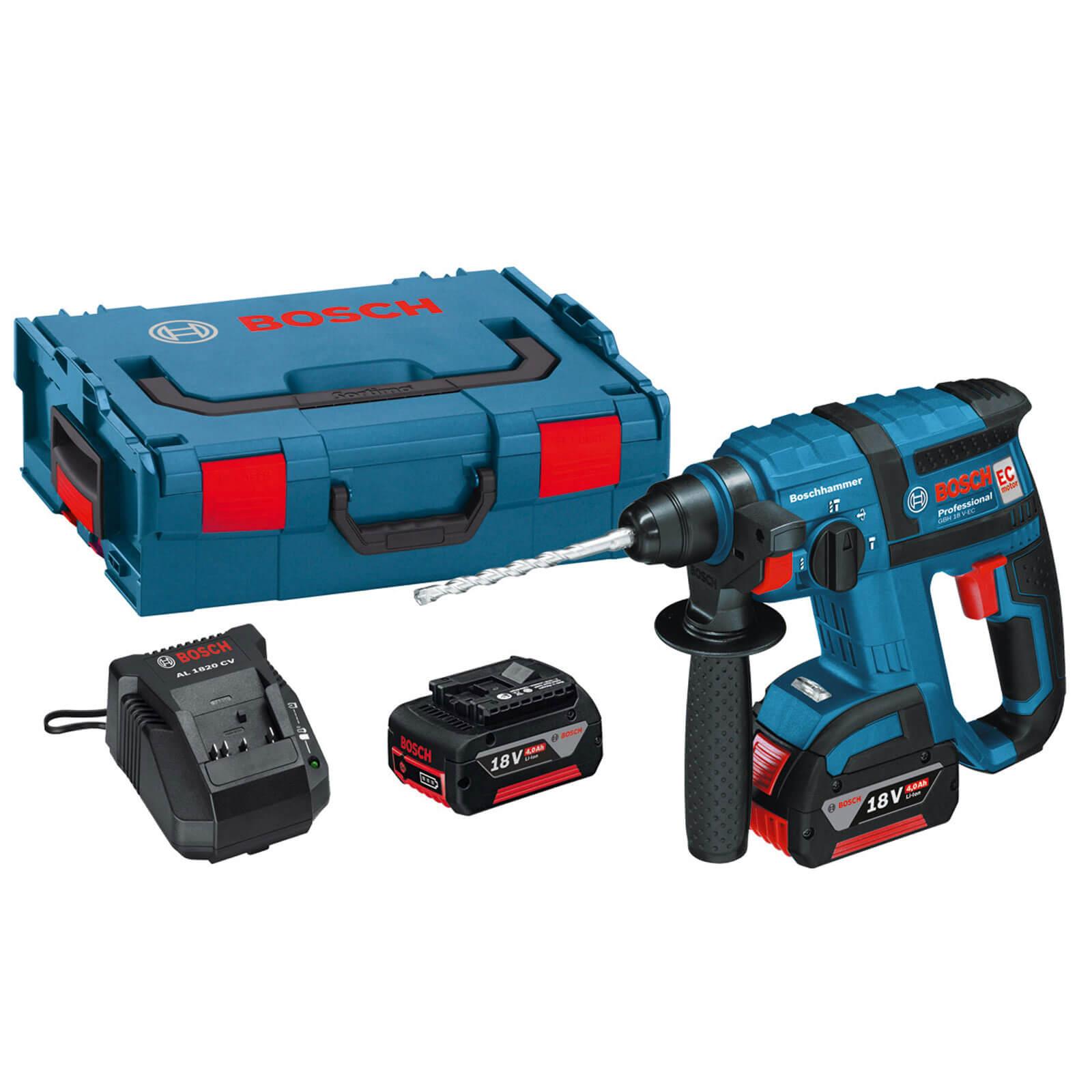 Bosch GBH 18 VEC 18v Cordless SDS Hammer Drill with L Boxx & 1 Liion Battery 4ah