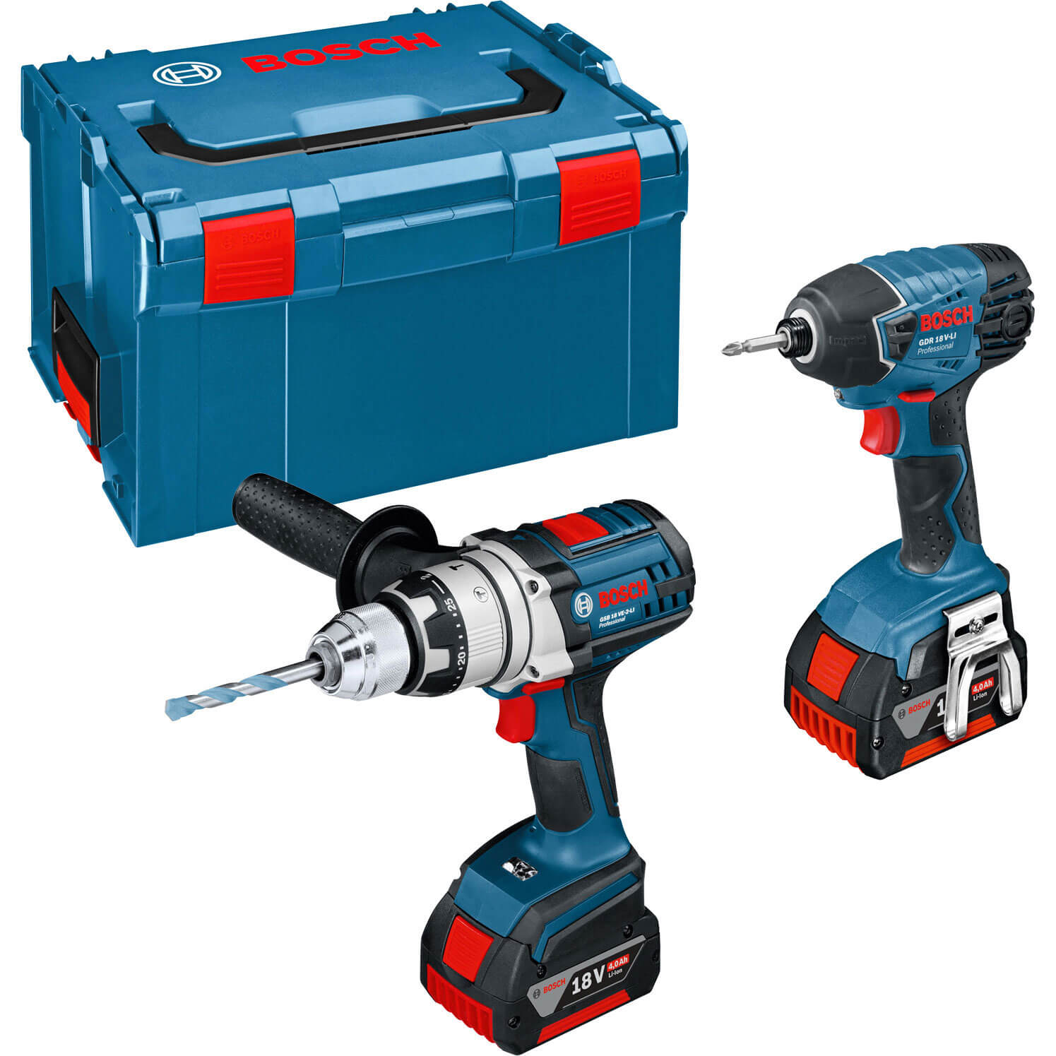 Bosch GSB 18 VE-2 LI 18v Cordless Robustseries Combi Drill & GDR 18 V-LI Impact Driver with L Boxx & 2 Lithium Ion Batteries 4ah