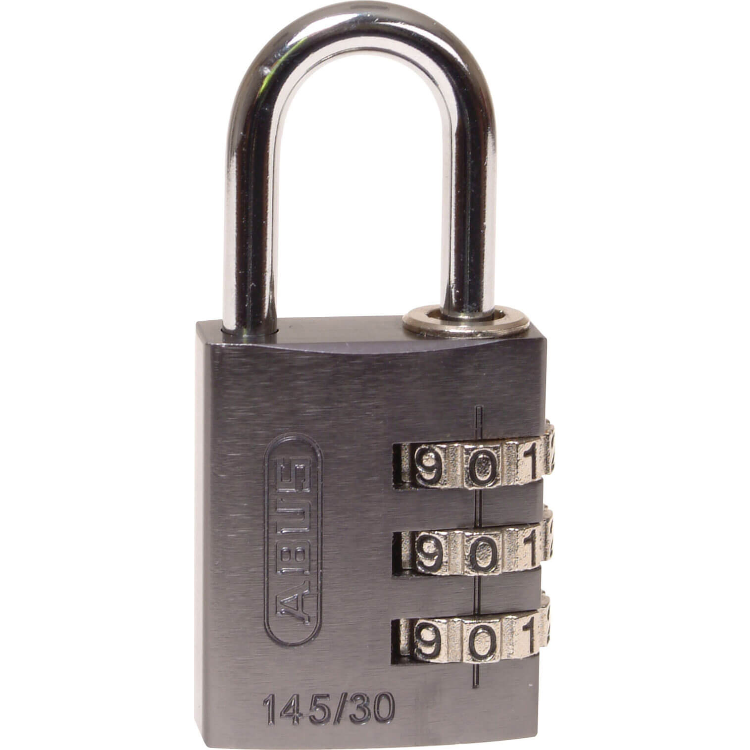 Image of Abus 30mm 145 Series 3 Digit Combination Aluminium Padlock Titanium