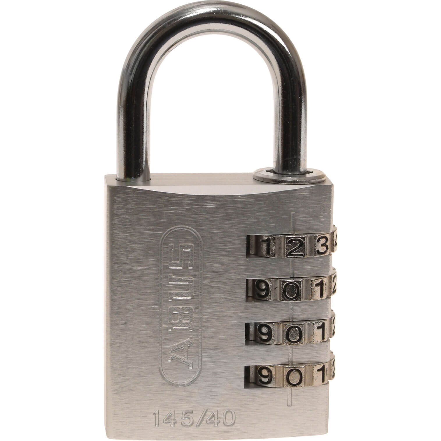 Abus 40mm 145 Series 4 Digit Combination Aluminium Padlock Silver