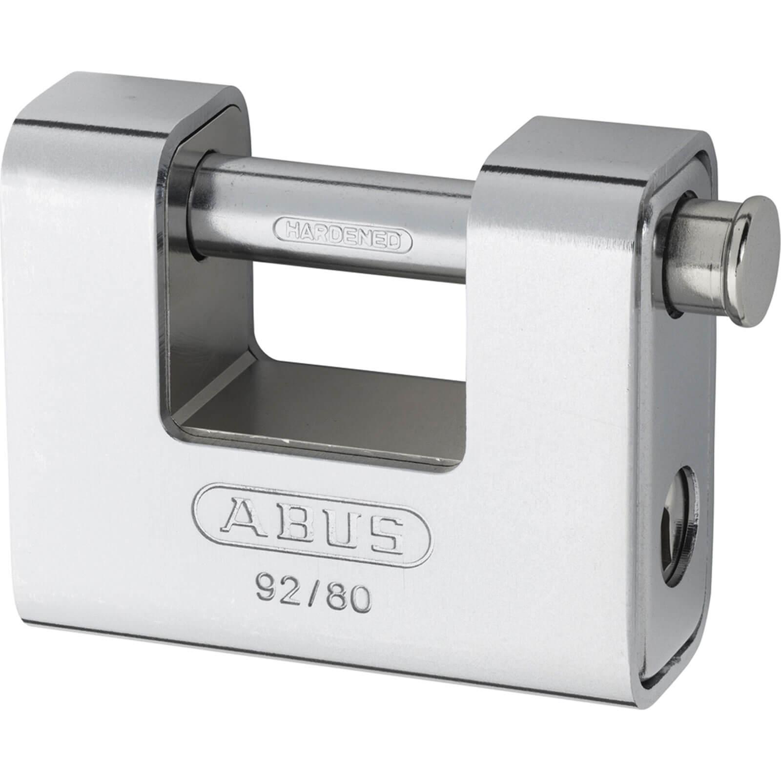 Abus 80mm 92 Series Steel Clad Body Brass Shutter Padlock Keyed Alike To Suite 8522