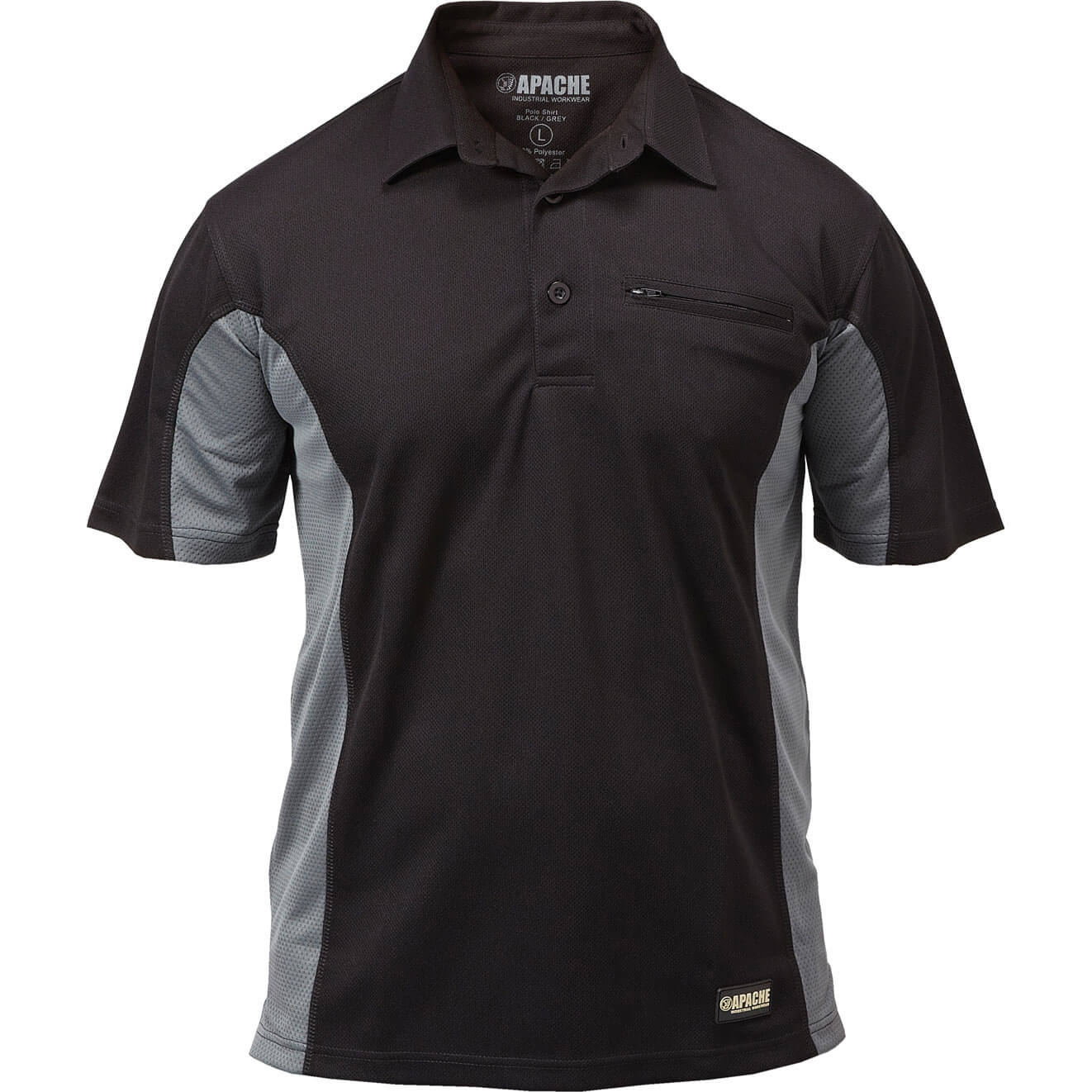 Apache Mens Dry Max Polo T Shirt Black / Grey 2XL