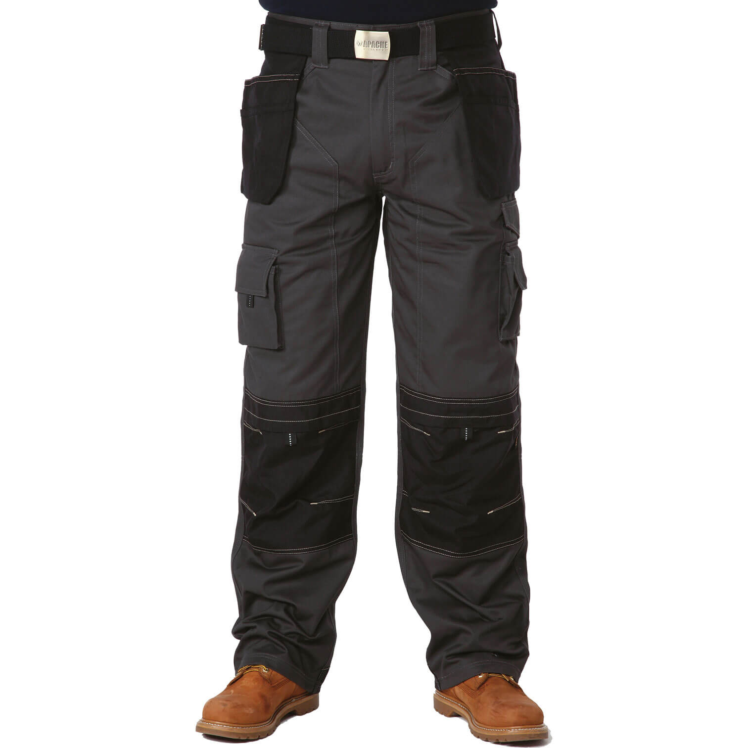 "Apache Mens Holster Pocket Work Trousers Black / Grey Waist 30"" Leg 29"""
