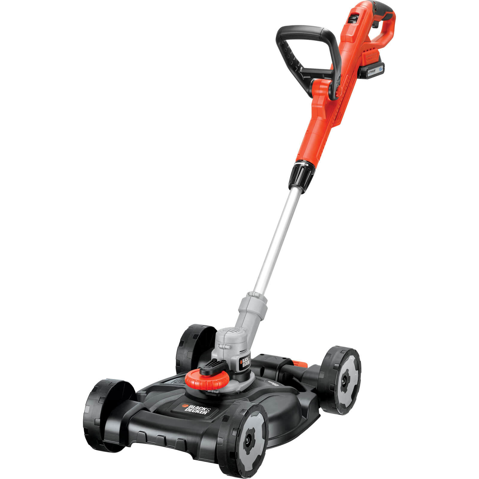 Black & Decker STC1820CM 18v Cordless 3 in 1 Edger, Grass Trimmer & Lawn Mower 250mm Cut Width with 1 Lithium Ion Battery 2ah FREE Spare Spool & Line Worth £5.95