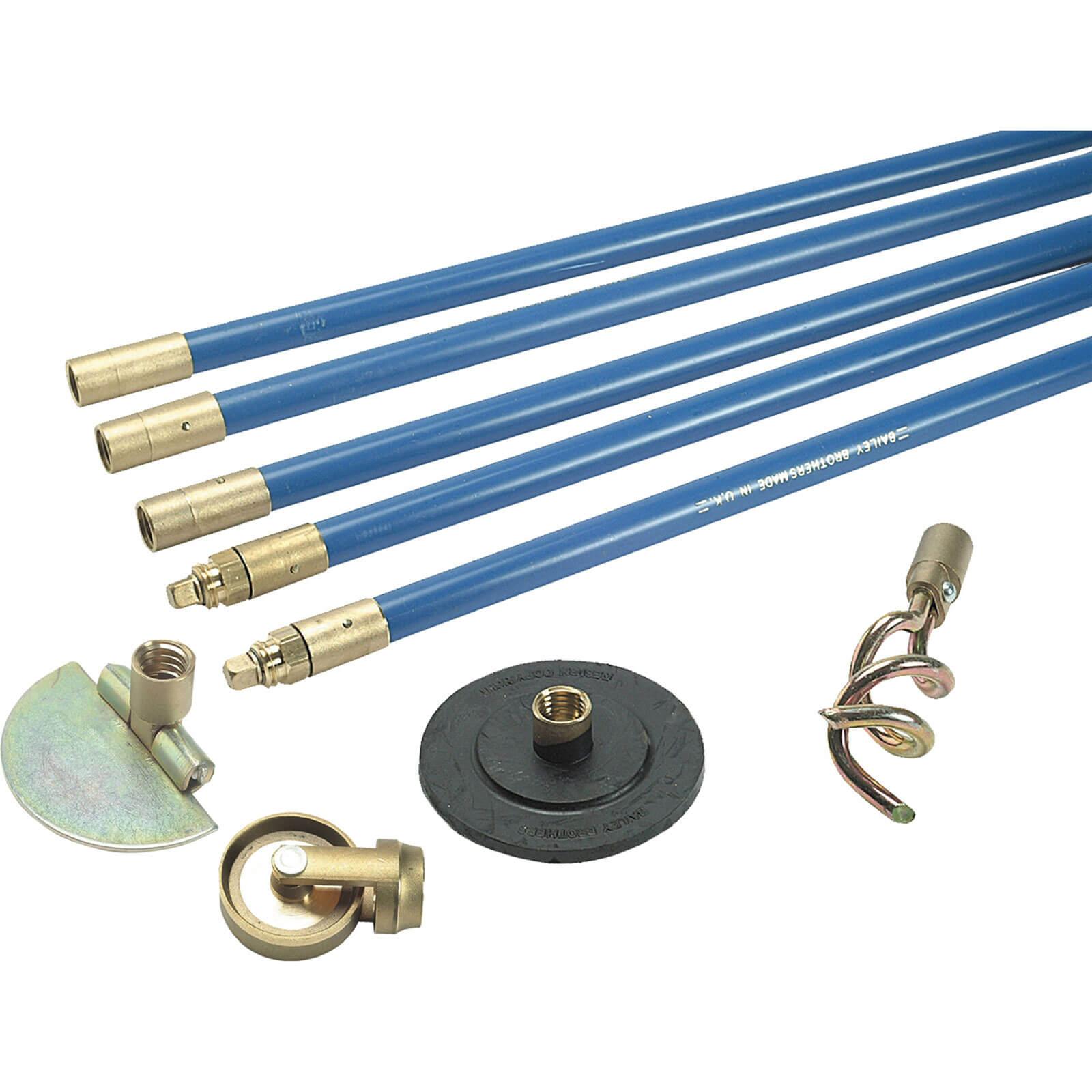"""Bailey 1324 L/F 3/4"""" Drain Rod Set 4 Tools"""