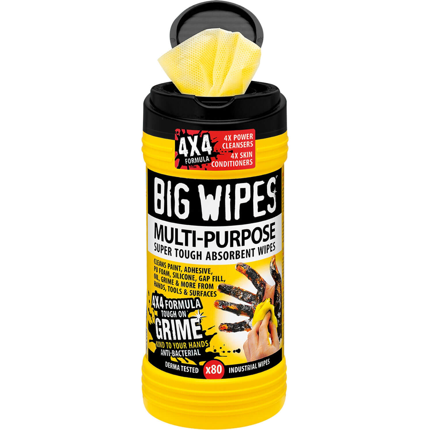 Big Wipes Black Top 4x4 Multi Purpose Hand Cleaning Wipes Tub of 80