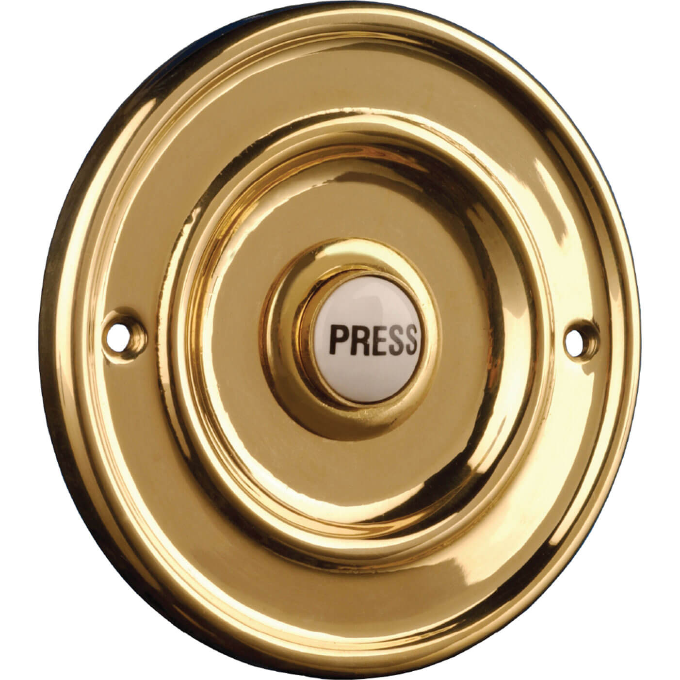 Byron Brass Round Wired Bell Push Flush Fit