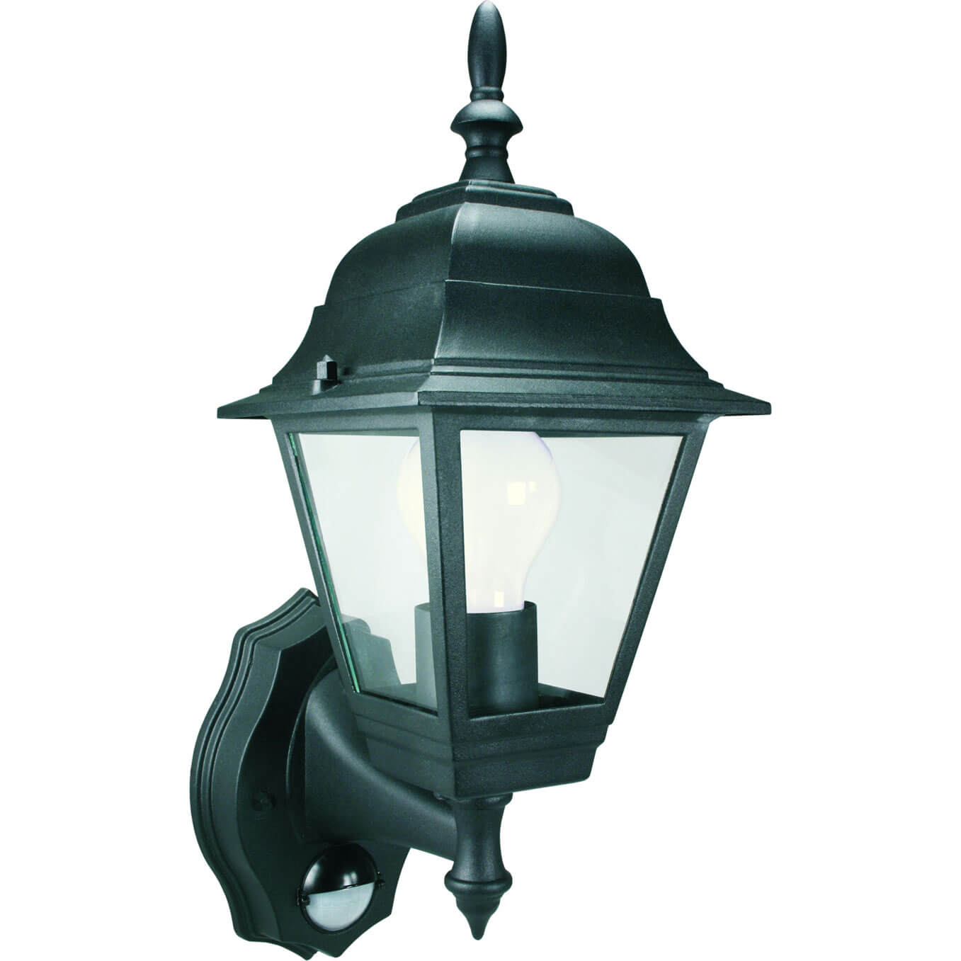 Byron ES94 4 Panel Coach Lantern with Motion Detector Black 24v