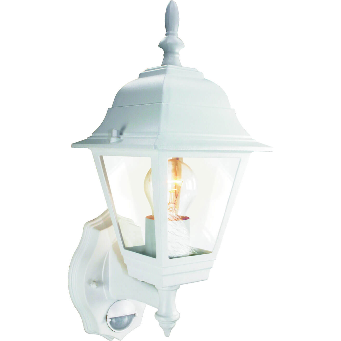 Byron ES94W 4-Panel Coach Lantern with Motion Detector White 240v
