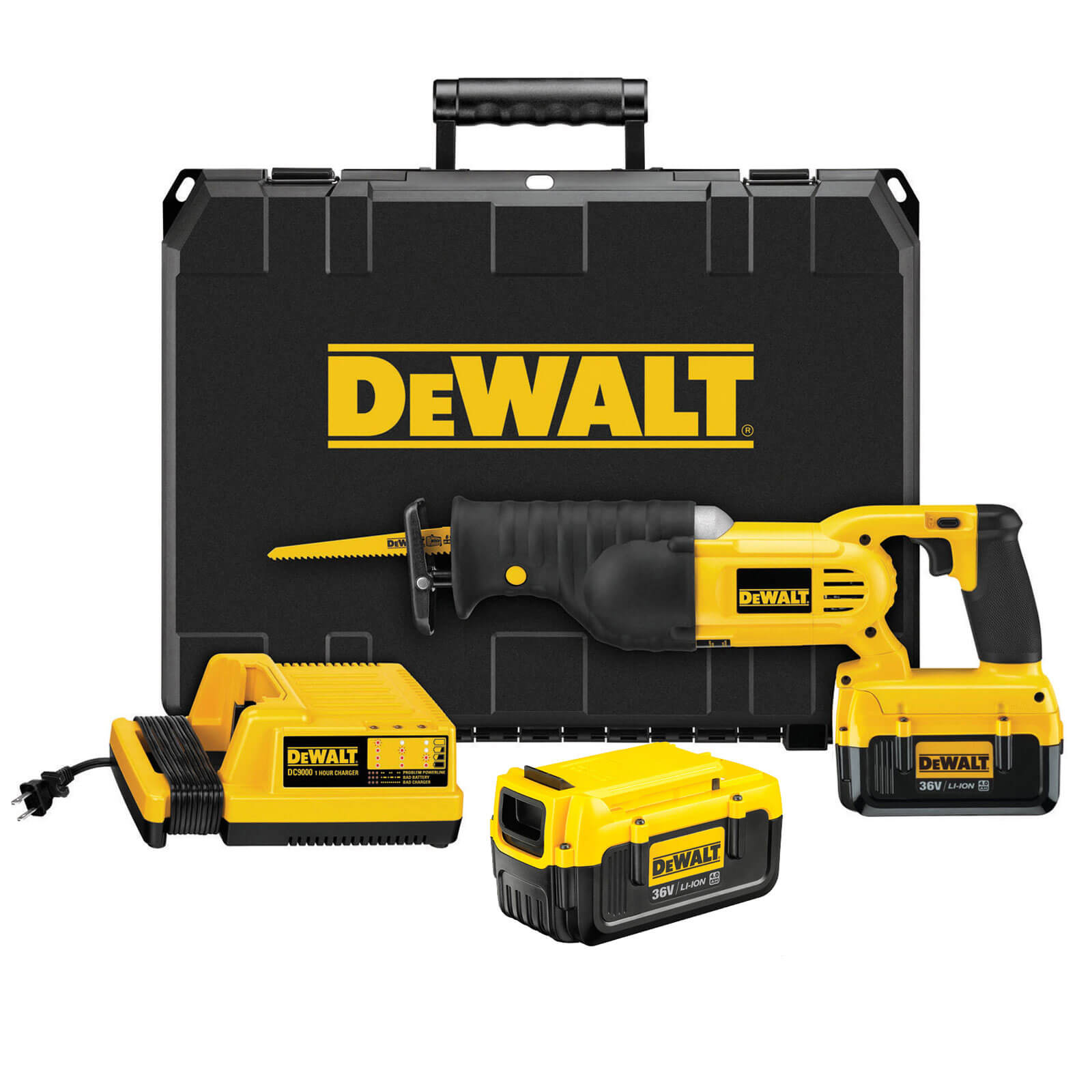 Dewalt DC305M2 36v Cordless Reciprocating Saw with 2 Lithium Ion Batteries 4ah & Kitbox