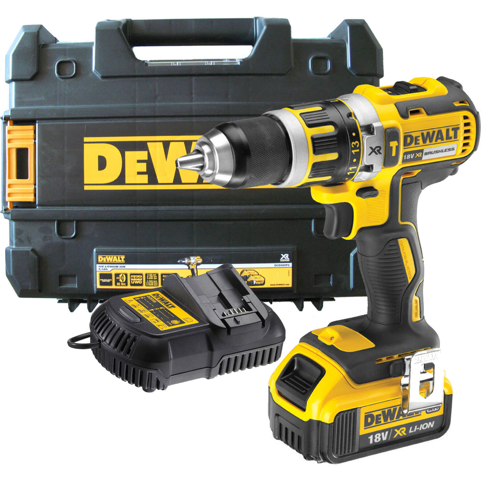 DeWalt DCD795M1 18v Brushless Cordless XR Compact 2 Speed Combi Drill with 1 Liion Battery 4ah