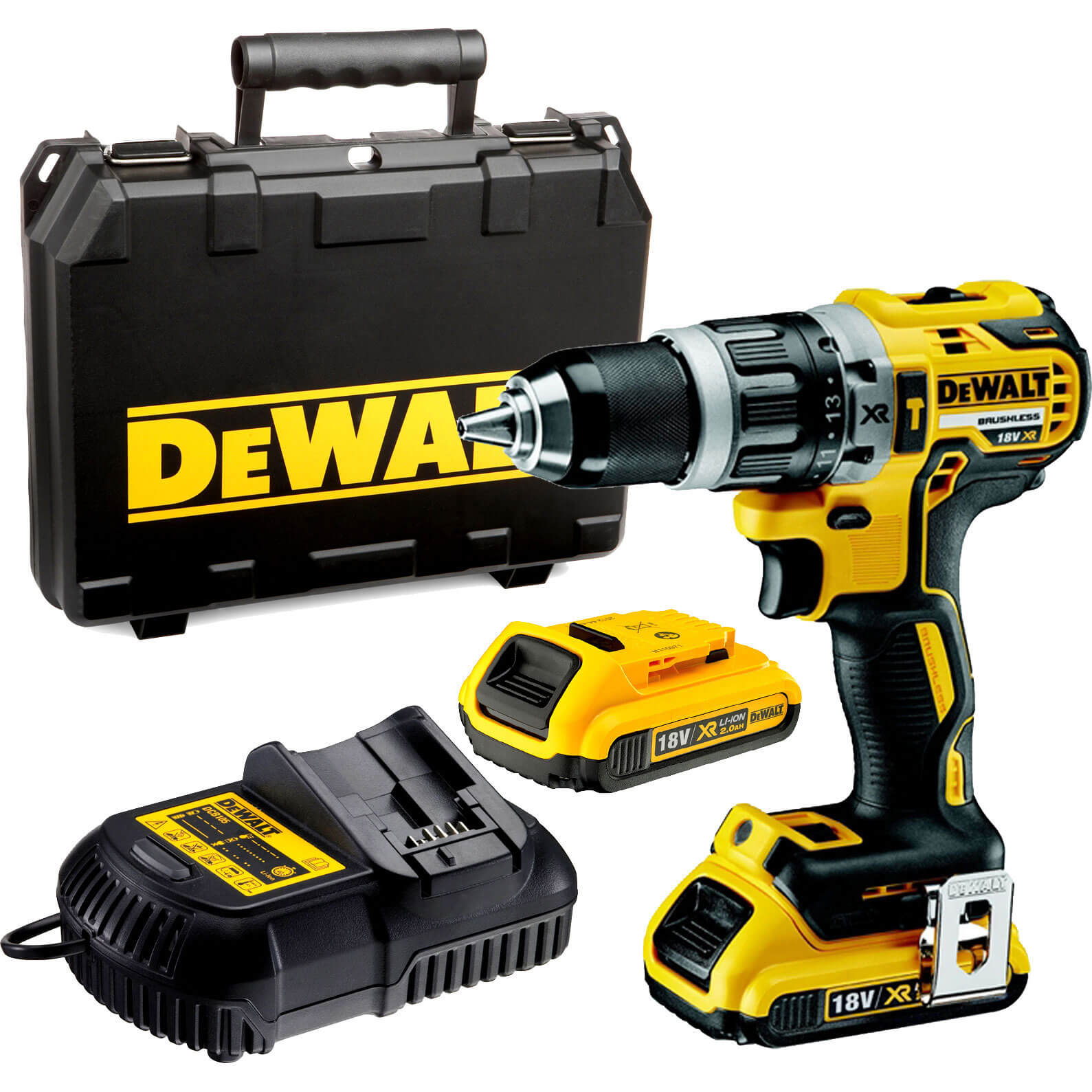 Image of DeWalt DCD796D2 18v Cordless XR Brushless Combi Drill with 2 Lithium Ion Batteries 2ah