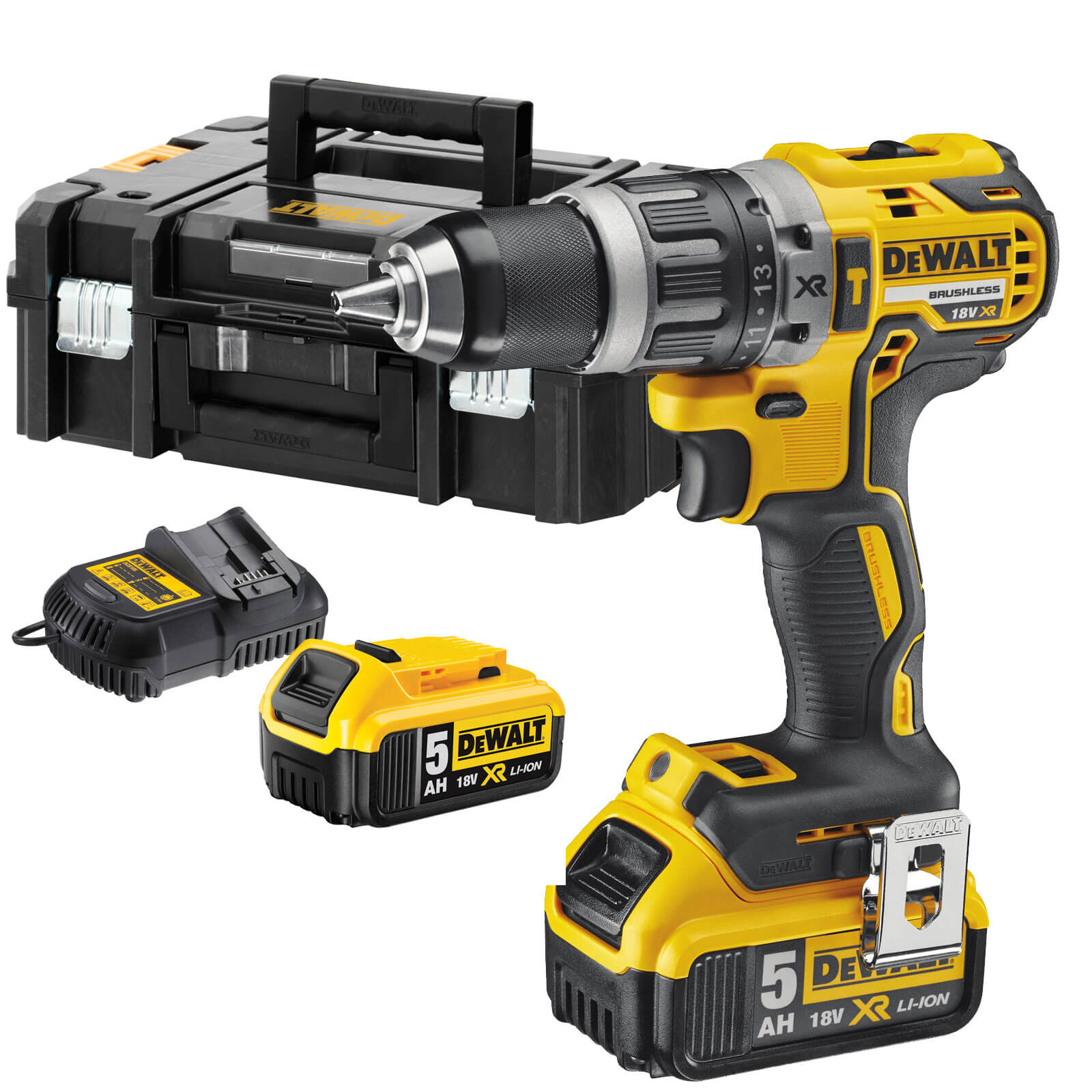 Image of DeWalt DCD796P2 18v Cordless XR Brushless Combi Drill with 2 Lithium Ion Batteries 5ah