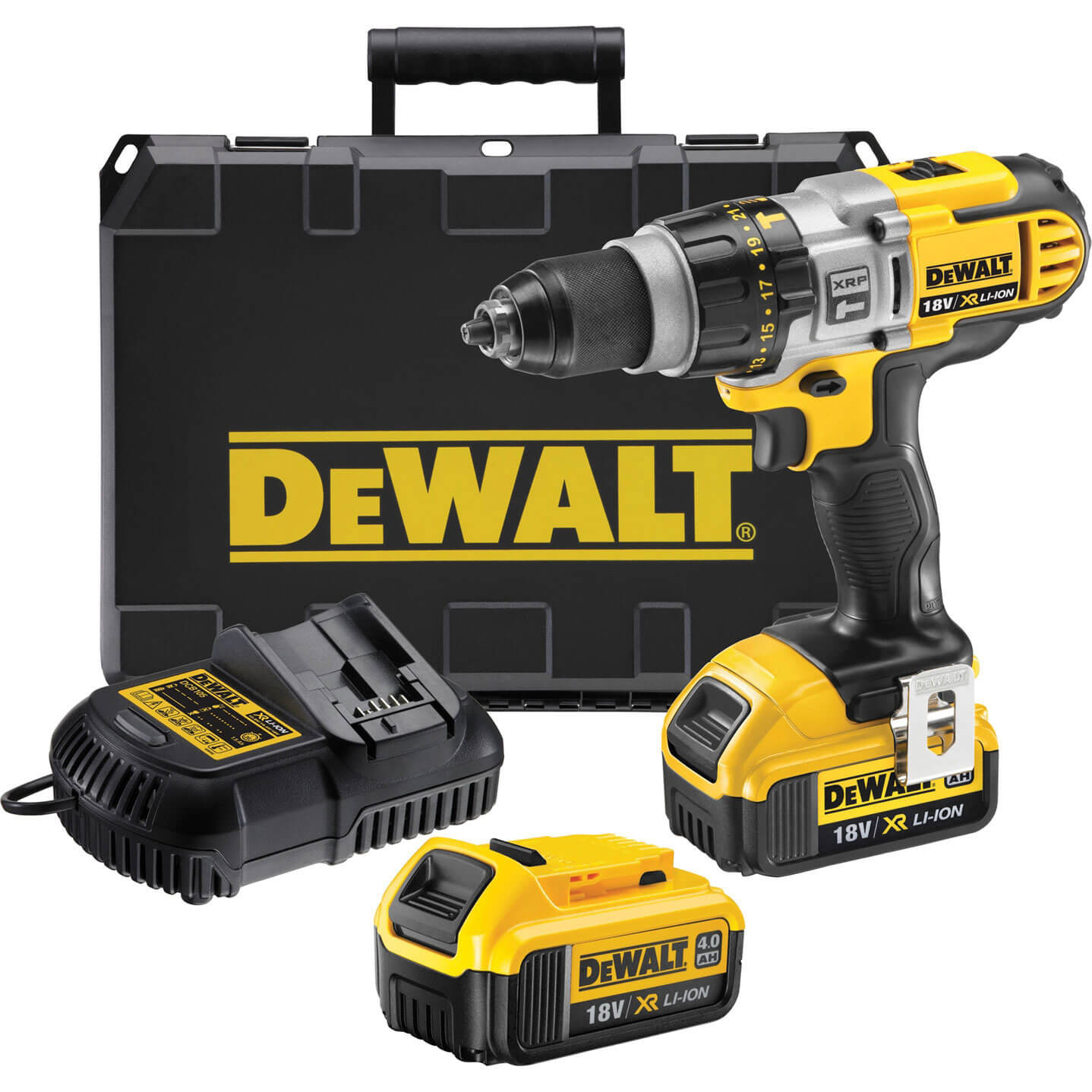 Image of DeWalt DCD985M2 18v Cordless XR Premium 3 Speed Combi Drill with 2 Lithium Ion Batteries 4ah