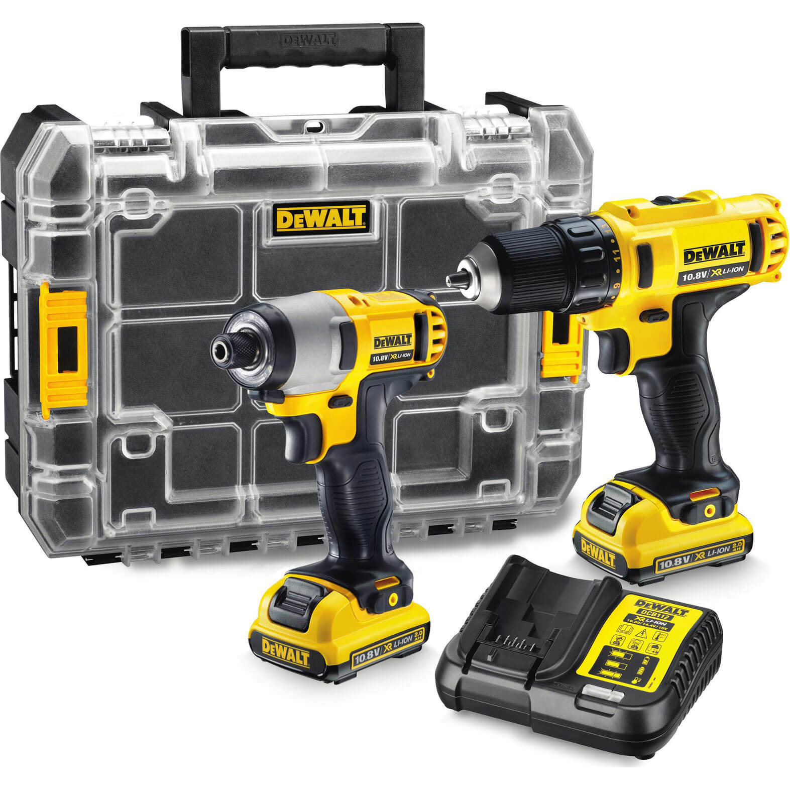 Image of DeWalt DCZ211D2T 10.8v Cordless XR Cordless Drill Driver & Impact Driver with 2 Lithium Ion Batteries 2ah