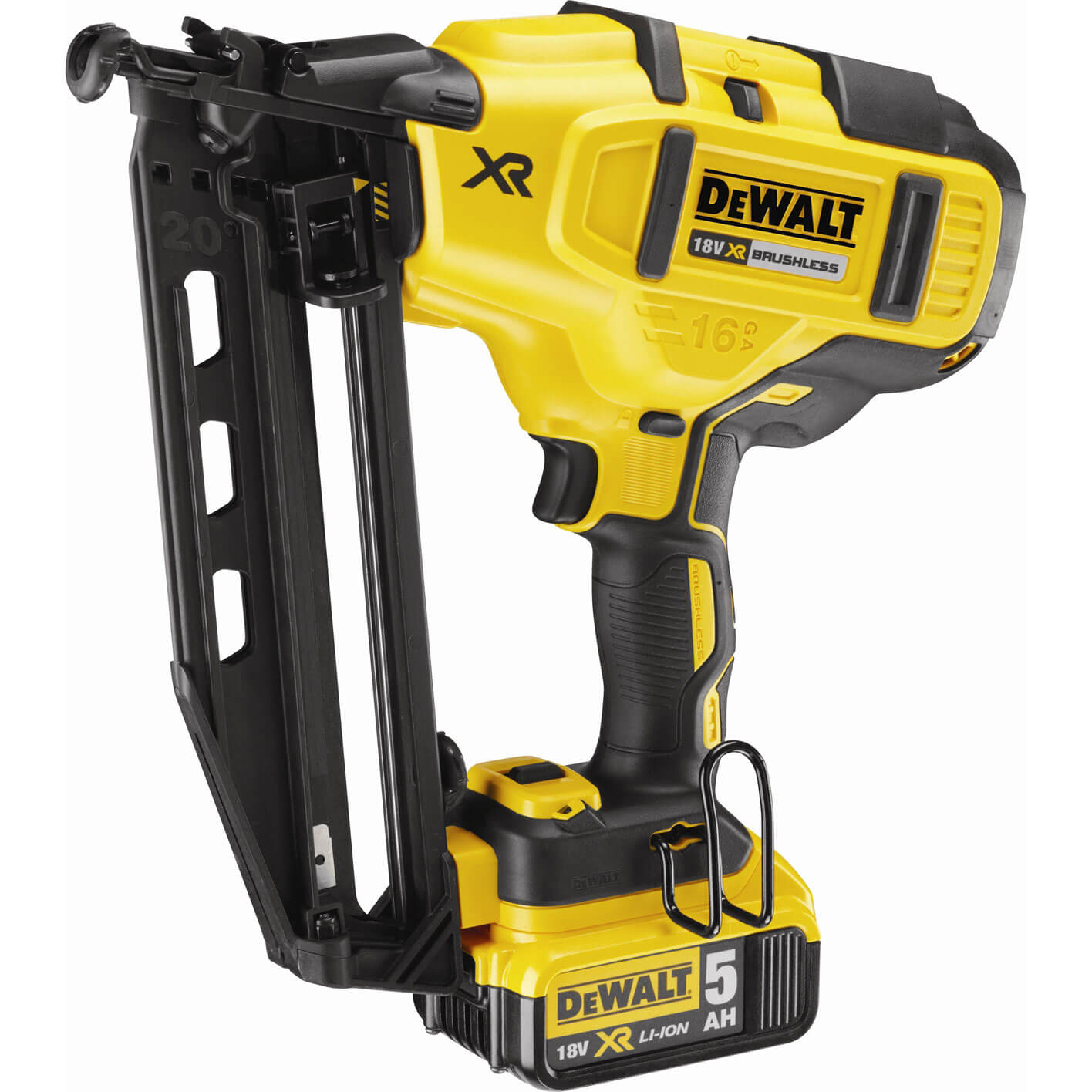 Image of DeWalt DCN660P2 18v Cordless XR Finish Nail Gun with 2 Lithium Ion Batteries 5ah