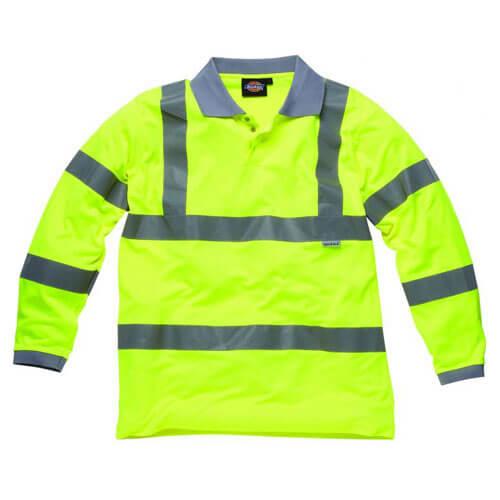 Dickies High Vis Long Sleeve Polo Shirt EN471 Class 3 Level 2 XL