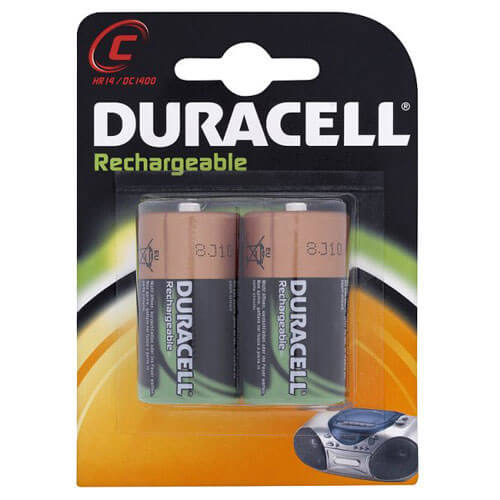 Duracell C Cell Rechargeable Batteries NiMH 2200mAh Pack of 2
