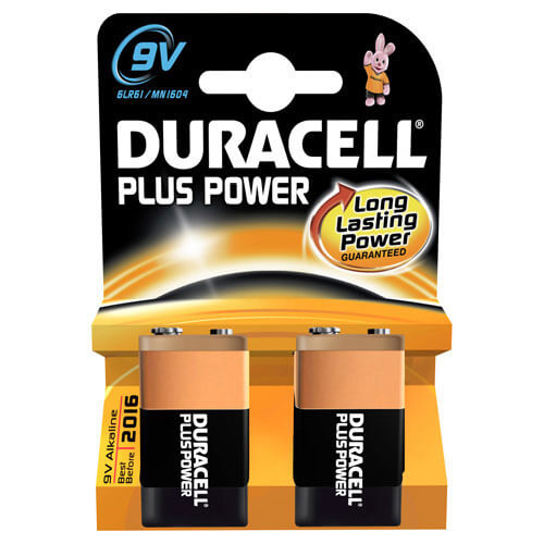Duracell Plus 9V Batteries Pack of 2