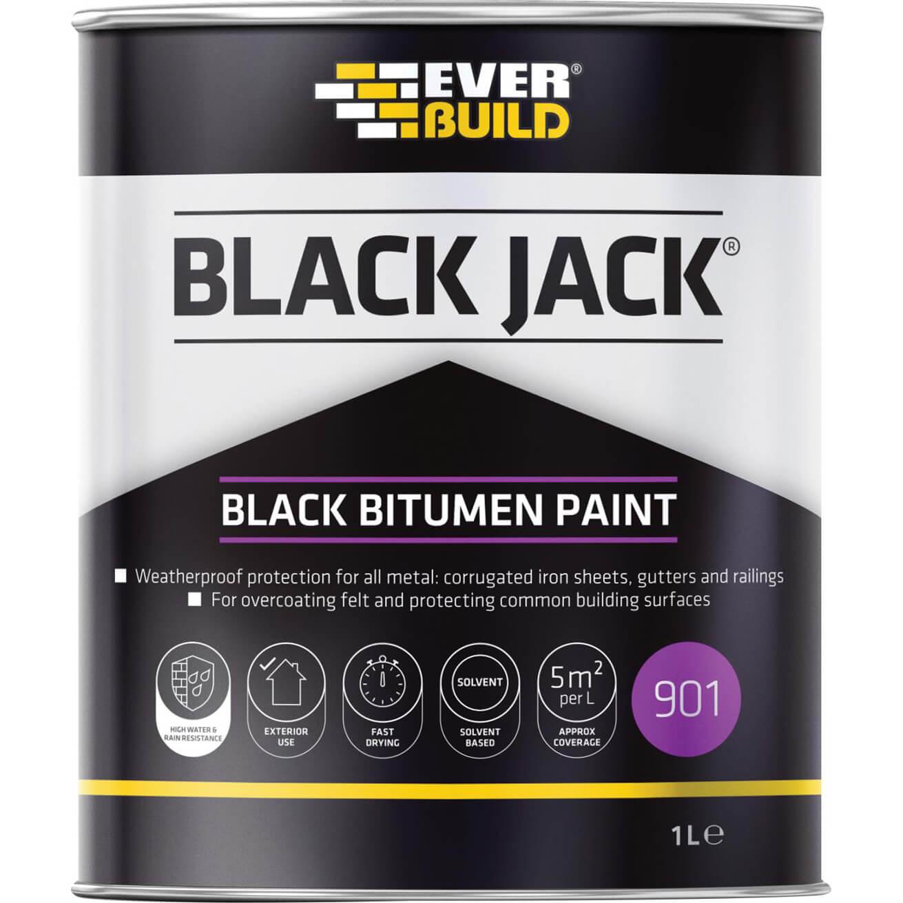 Everbuild Black Bitumen Paint 1L