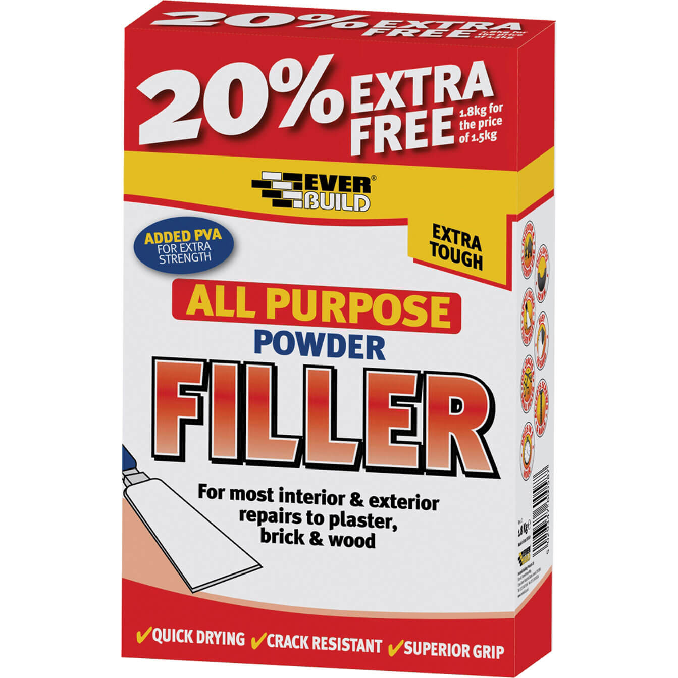 Tooled Up/Sealants & Adhesives/Fillers/Everbuild All Purpose Powder Filler 450g + 30% Free