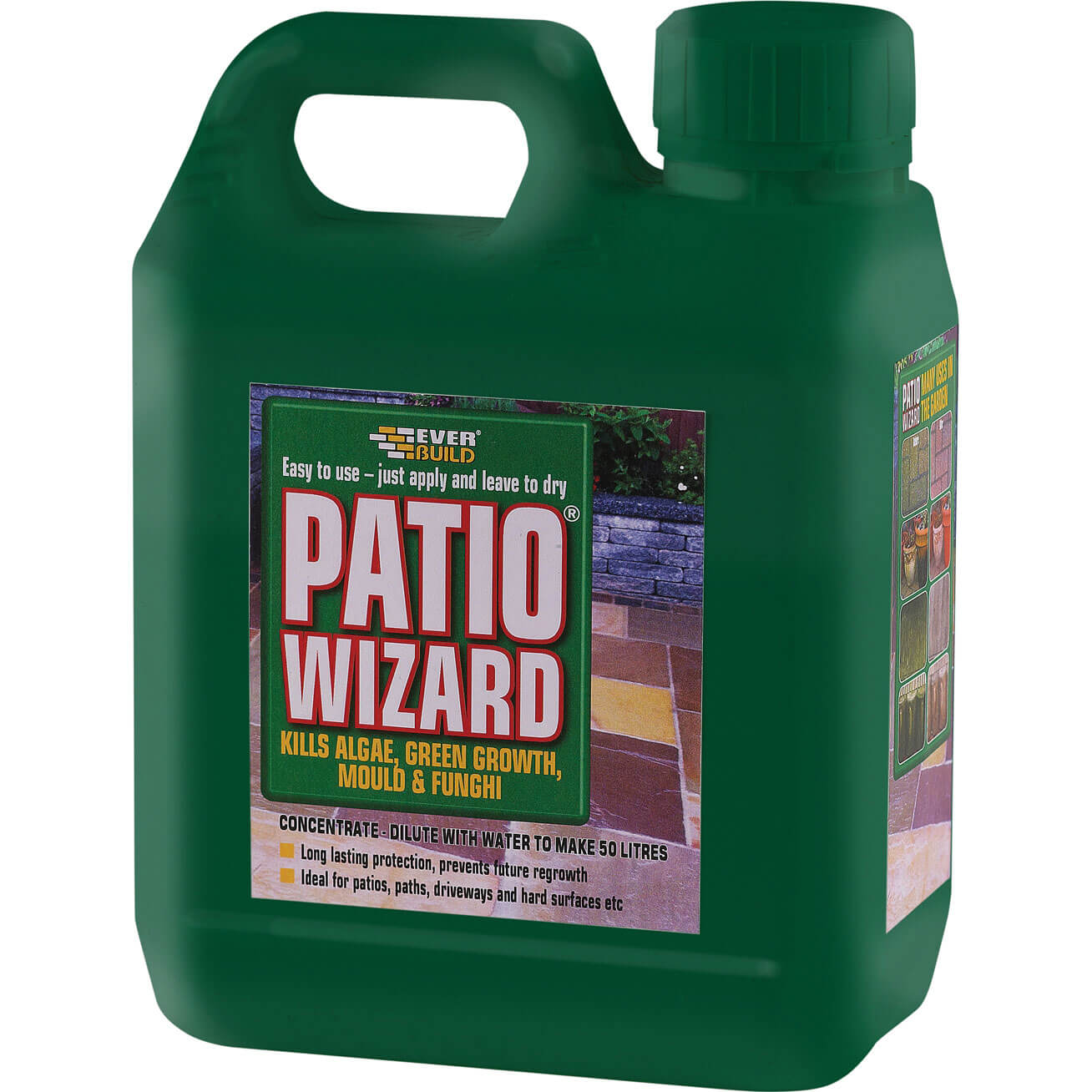 Image of Everbuild Patio Wizard Algae, Green Growth, Mould & Fungus Remover Concentrate 1L