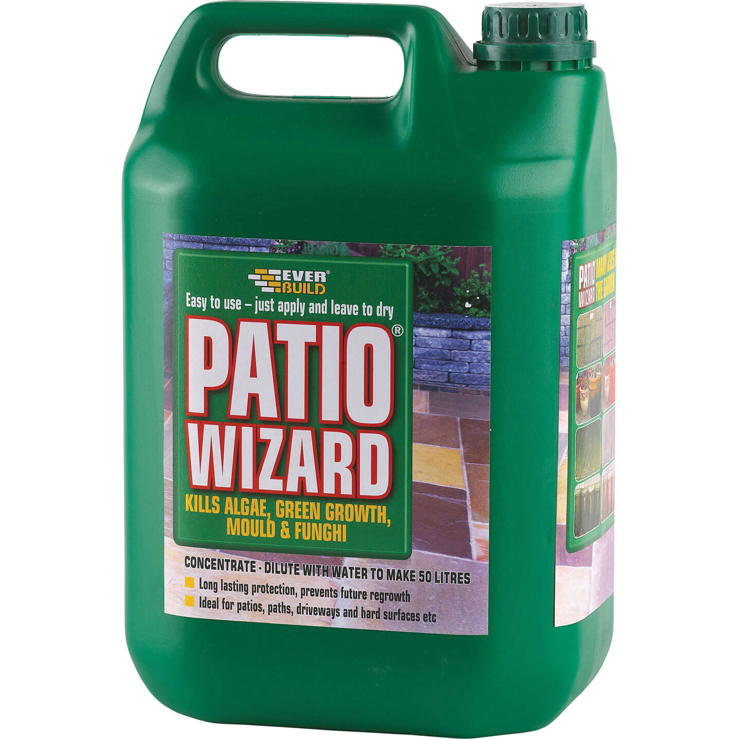 Image of Everbuild Patio Wizard Algae, Green Growth, Mould & Fungus Remover Concentrate 5L