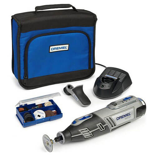 Dremel 8200 10.8v Cordless Multi Tool + Grip Attachment + 35 Accessories with 1 Lithium Ion Battery