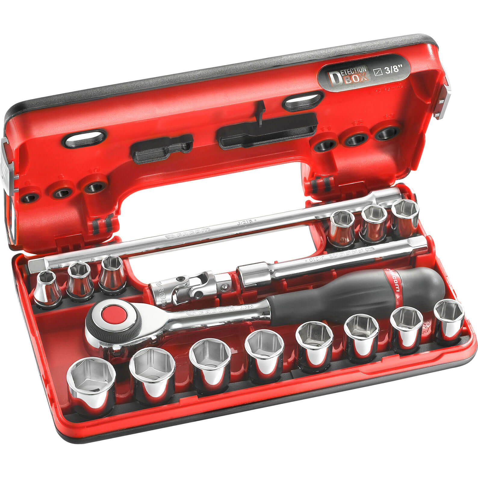 Facom 18 Piece 38&quot Drive Hex Socket Set in Detection Box Metric